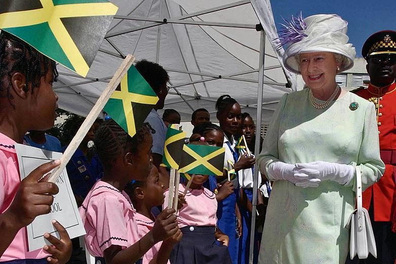 Her Majesty the Queen greets Her Jamaican subjects