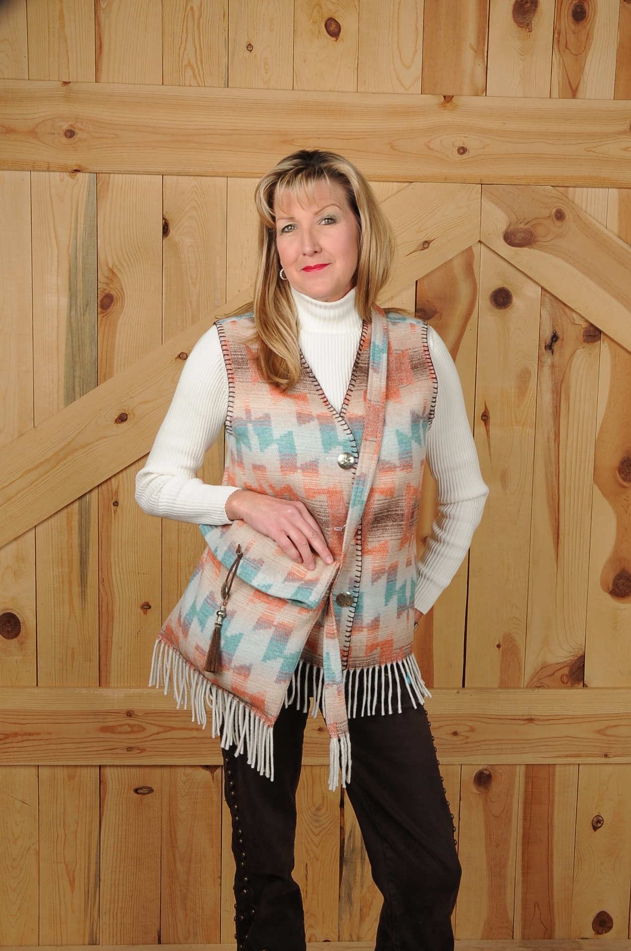 121HSF - HARVEST SKY FRINGE V-NECK VEST                      (no pockets) - $79.95