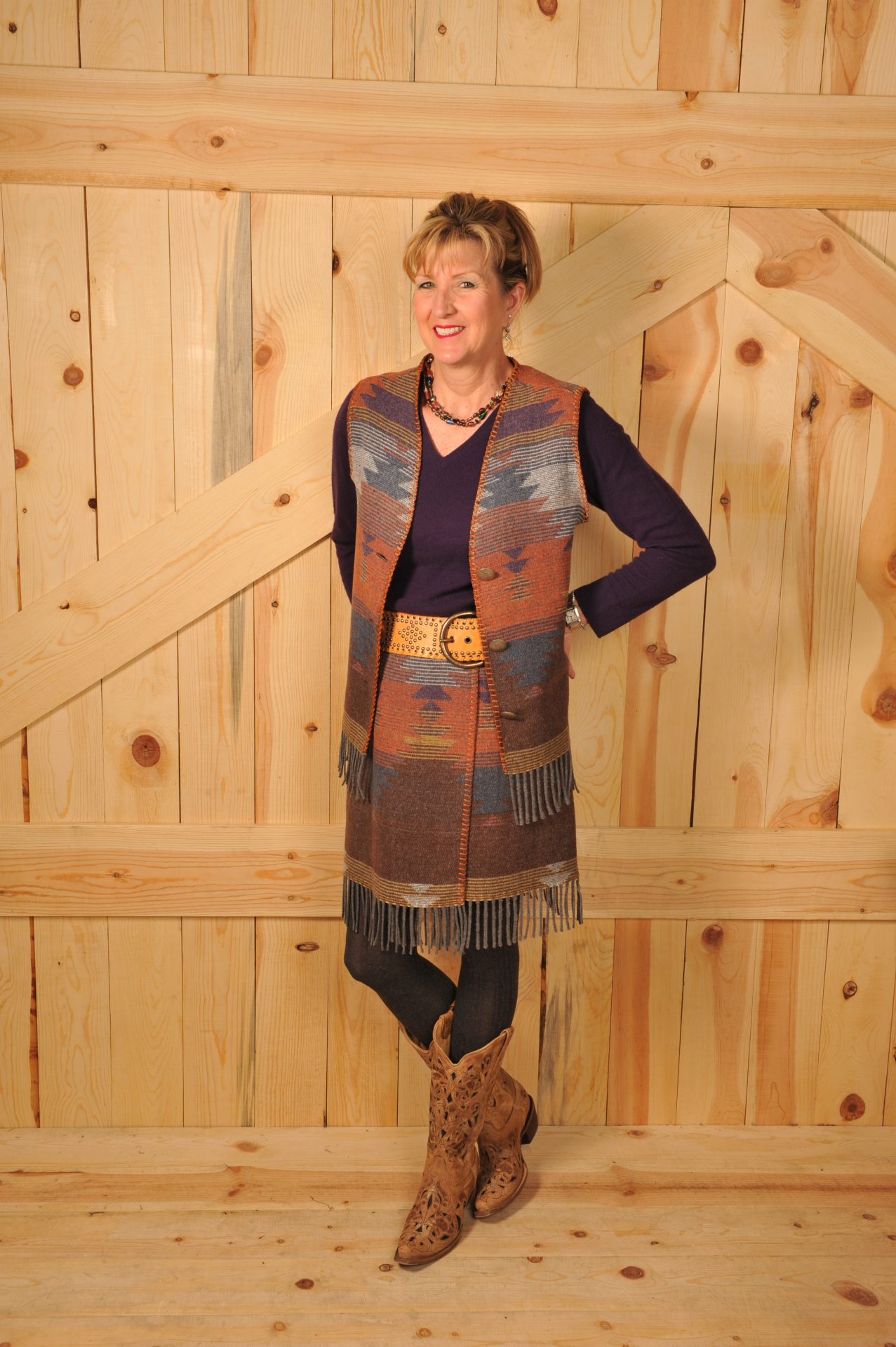 121SCF - SUNSET FRINGE V-VEST                                        WAS $74.95 - NOW $37.47