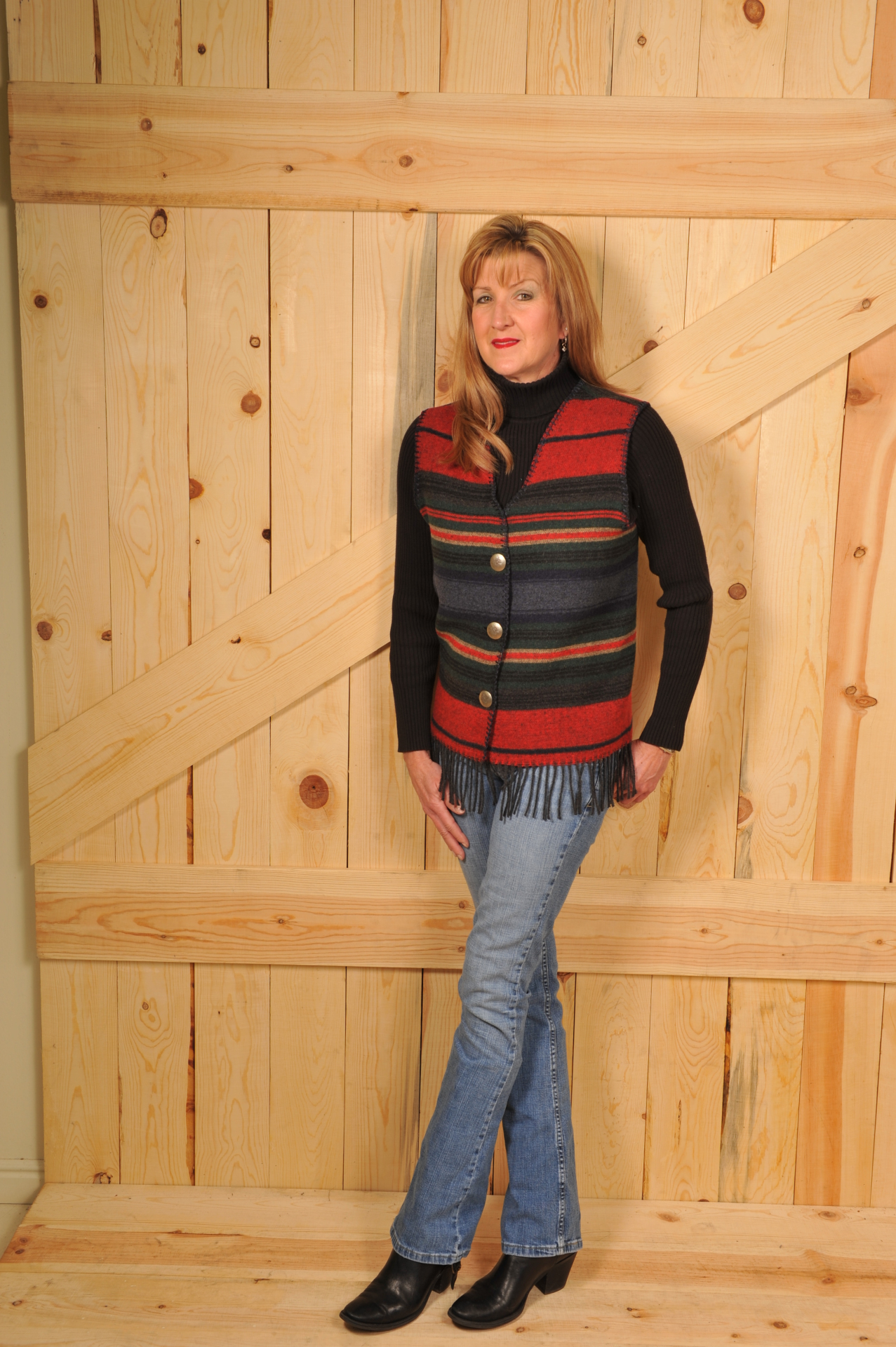 121SNF - NAVY SERAPE FRINGE V-VEST                                 WAS $74.95 - NOW $37.47