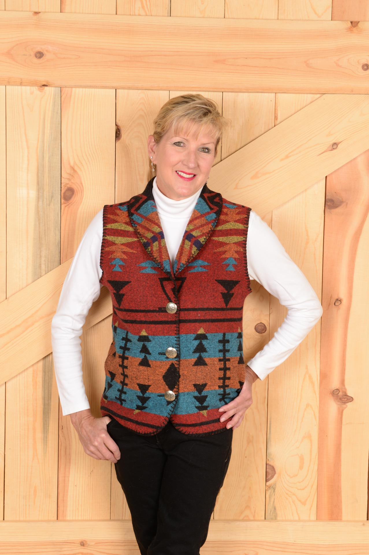 #130ZR - RED ZUNI SHAWL B.S. VEST            $99.95