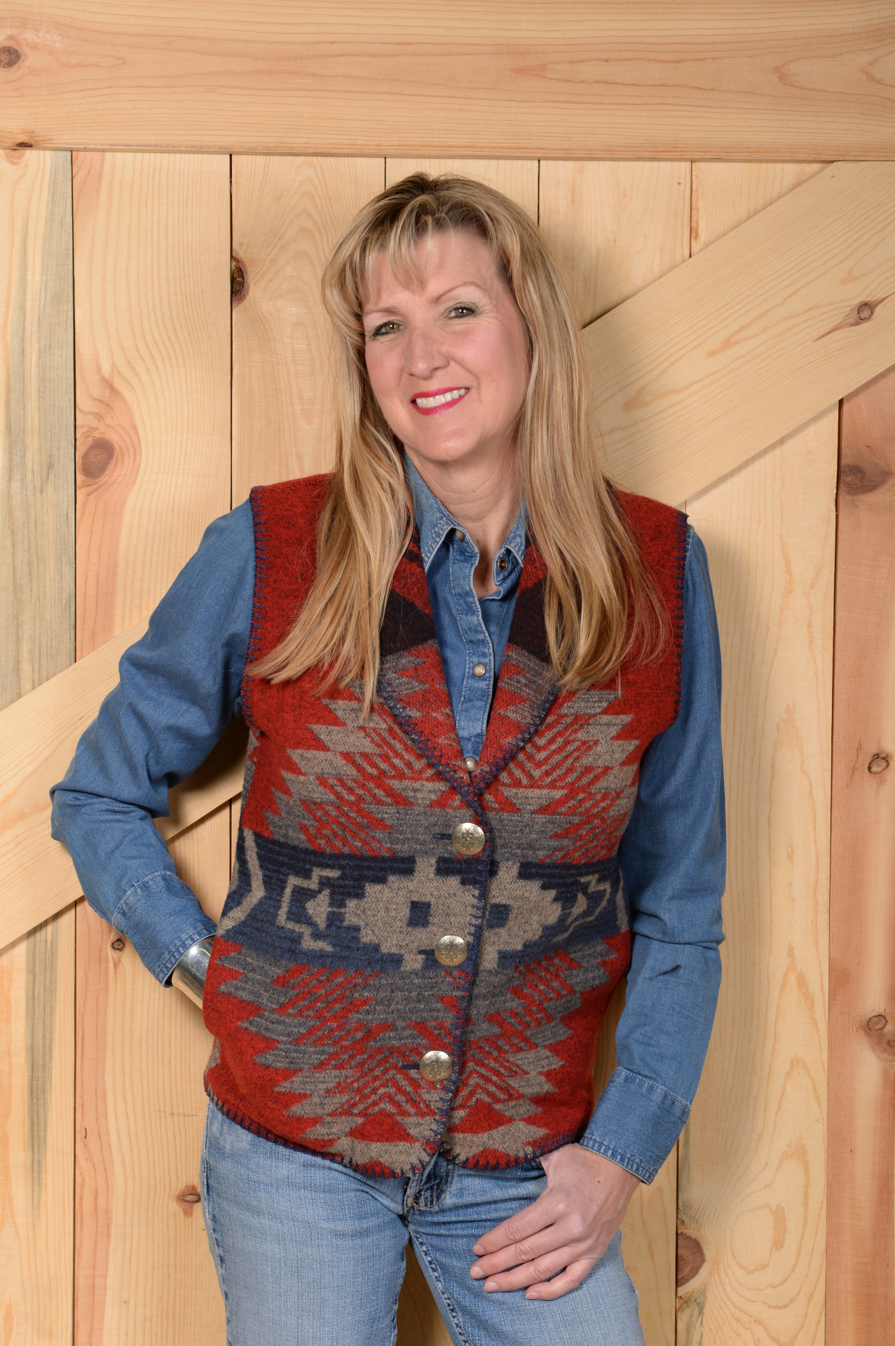 130APG - GREY APACHE LONG SHAWL VEST -- $99.95