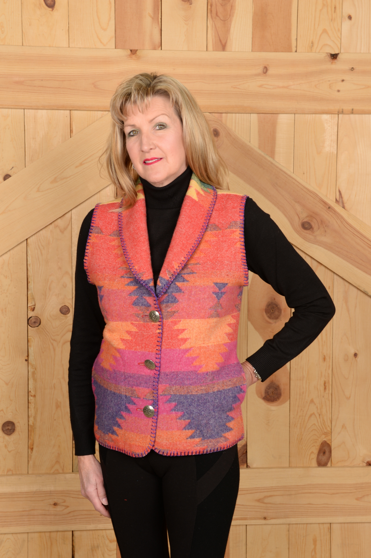 130FI - FIESTA LONG SHAWL COLLAR B.S. VEST          $99.95
