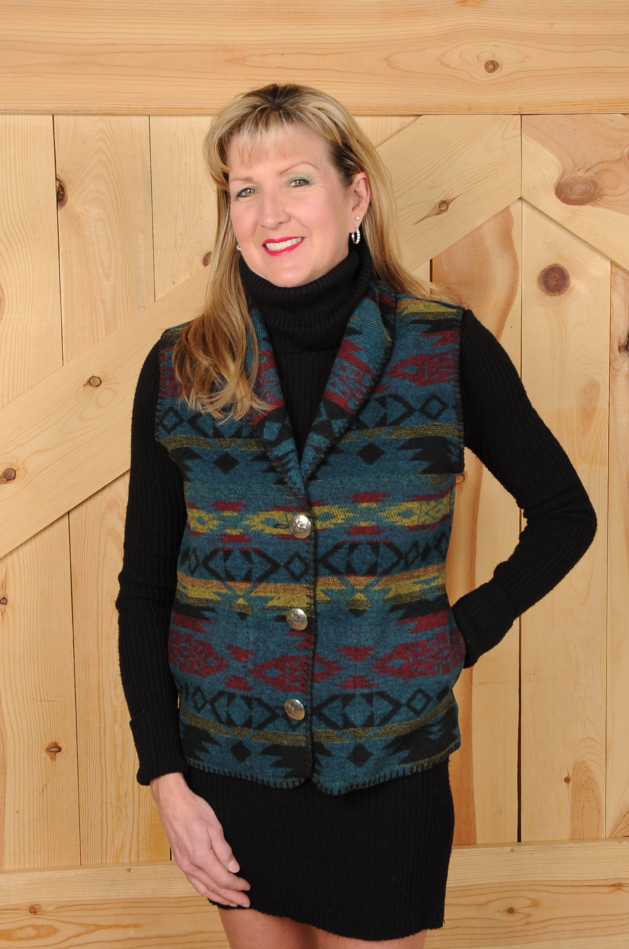 #130TM - TOTEM SHAWL COLLAR VEST - WAS $99.95 -- SALE $49.98 -- SMALL ONLY!
