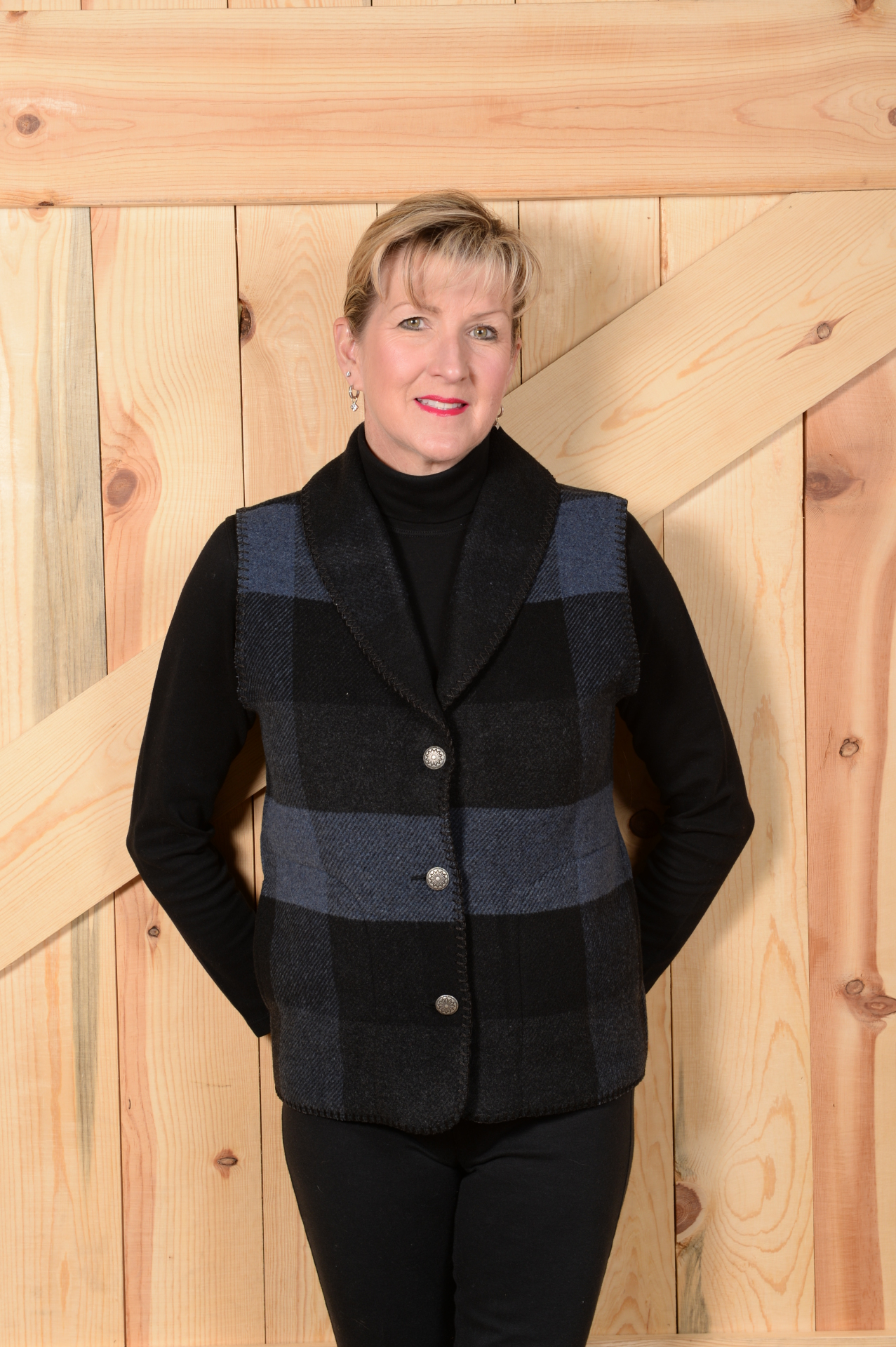 #130BPB - BLUE BUFFALO PLAID SHAWL COLLAR VEST - WAS $99.95 -- SALE $49.98 - ALL SIZES AVAILABLE!!