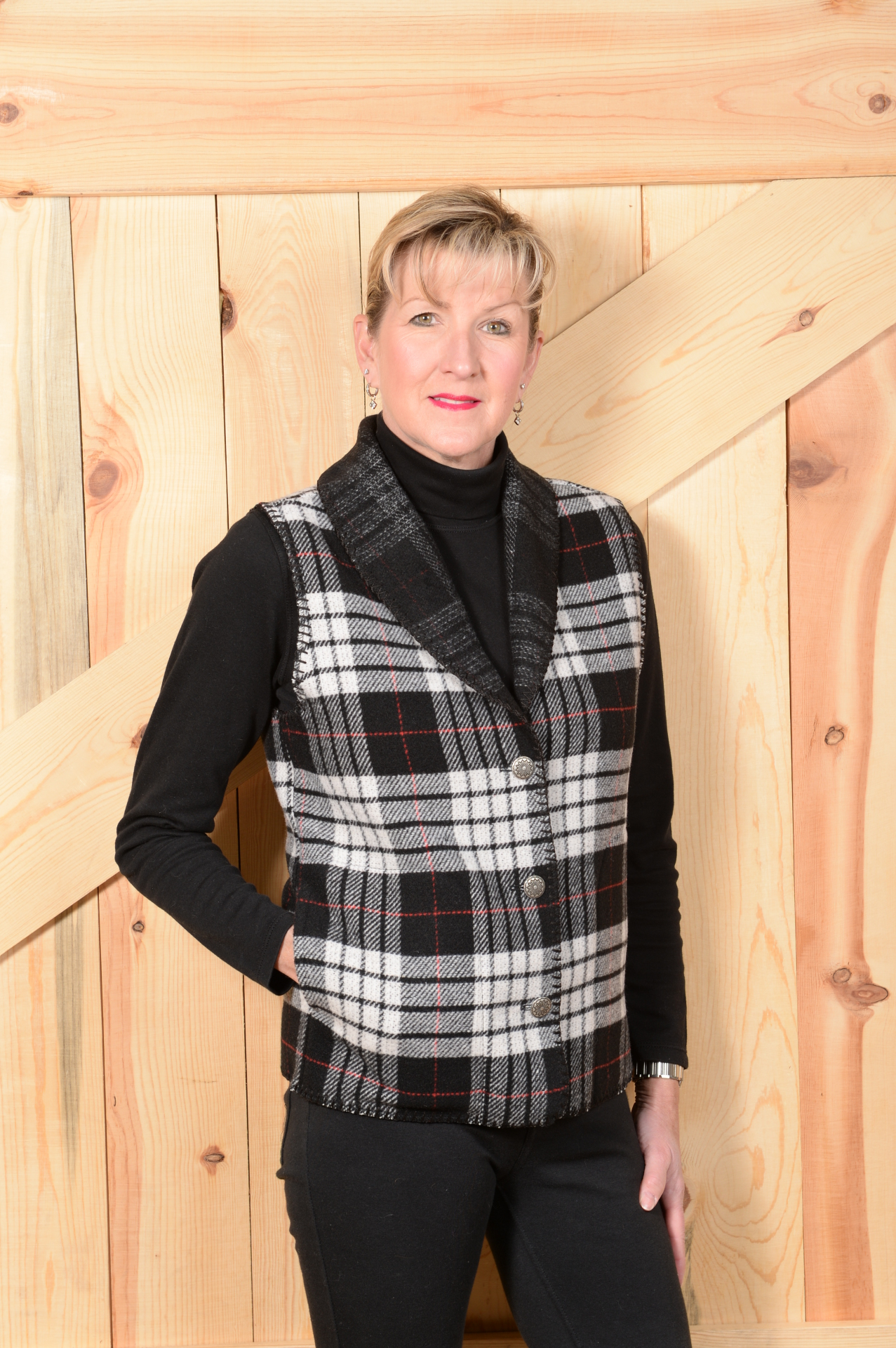 #130TPW - WHITE TARTAN PLAID SHAWL COLLAR VEST - WAS $99.95 -- SALE $49.98 -- ALL SIZES AVAILABLE!