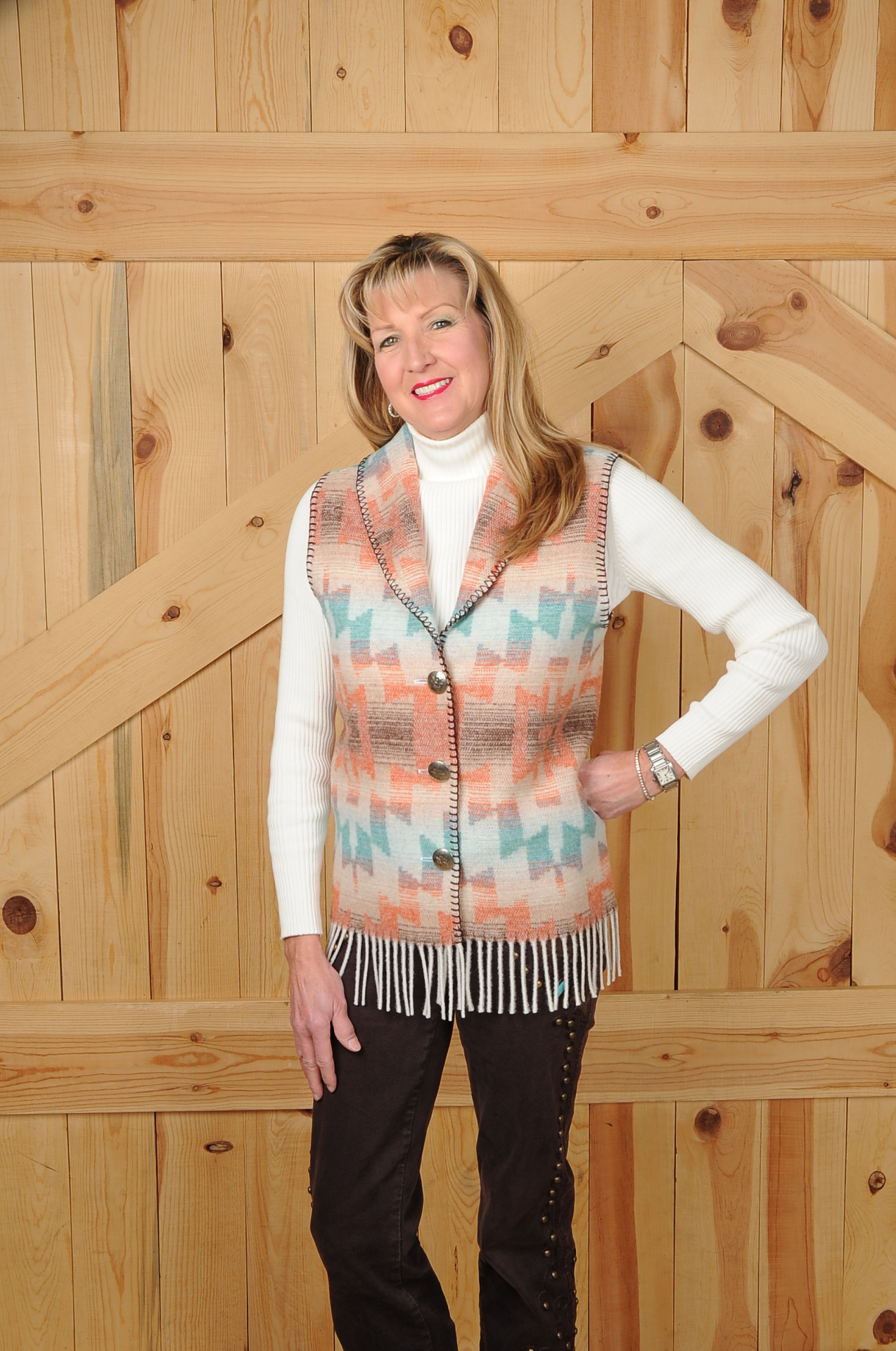 131HSF - HARVEST SKY FRINGE LONG SHAWL VEST            $84.95