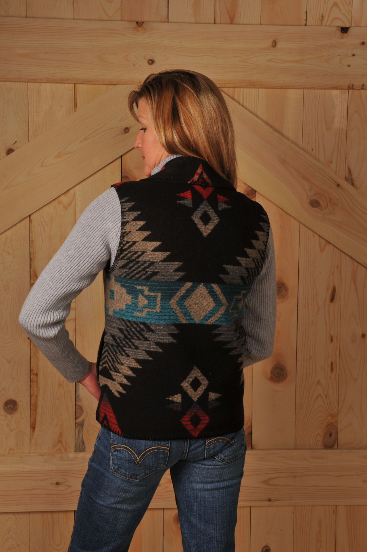 130DKG - GREY DAKOTA LONG SHAWL VEST - Back             $99.95
