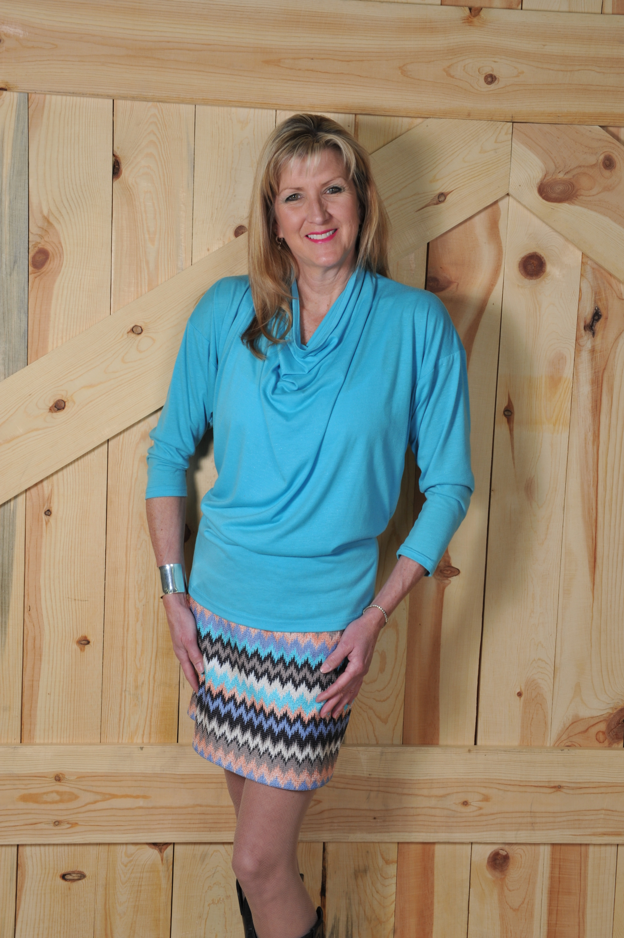 "#510 MULTI TURQ. KNIT 18"" SKIRT - $39.95"