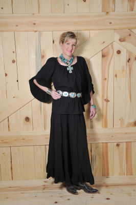 "#514BK - BLACK GAUZE LONG 37"" RUFFLED A-LINE SKIRT - $84.95"