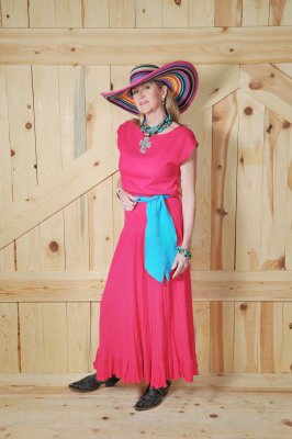 "#514FU - FUCHSIA GAUZE LONG 37"" RUFFLED A-LINE SKIRT - $84.95"