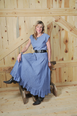 "#514IN - INDIGO GAUZE LONG 37"" RUFFLED A-LINE SKIRT - $84.95"
