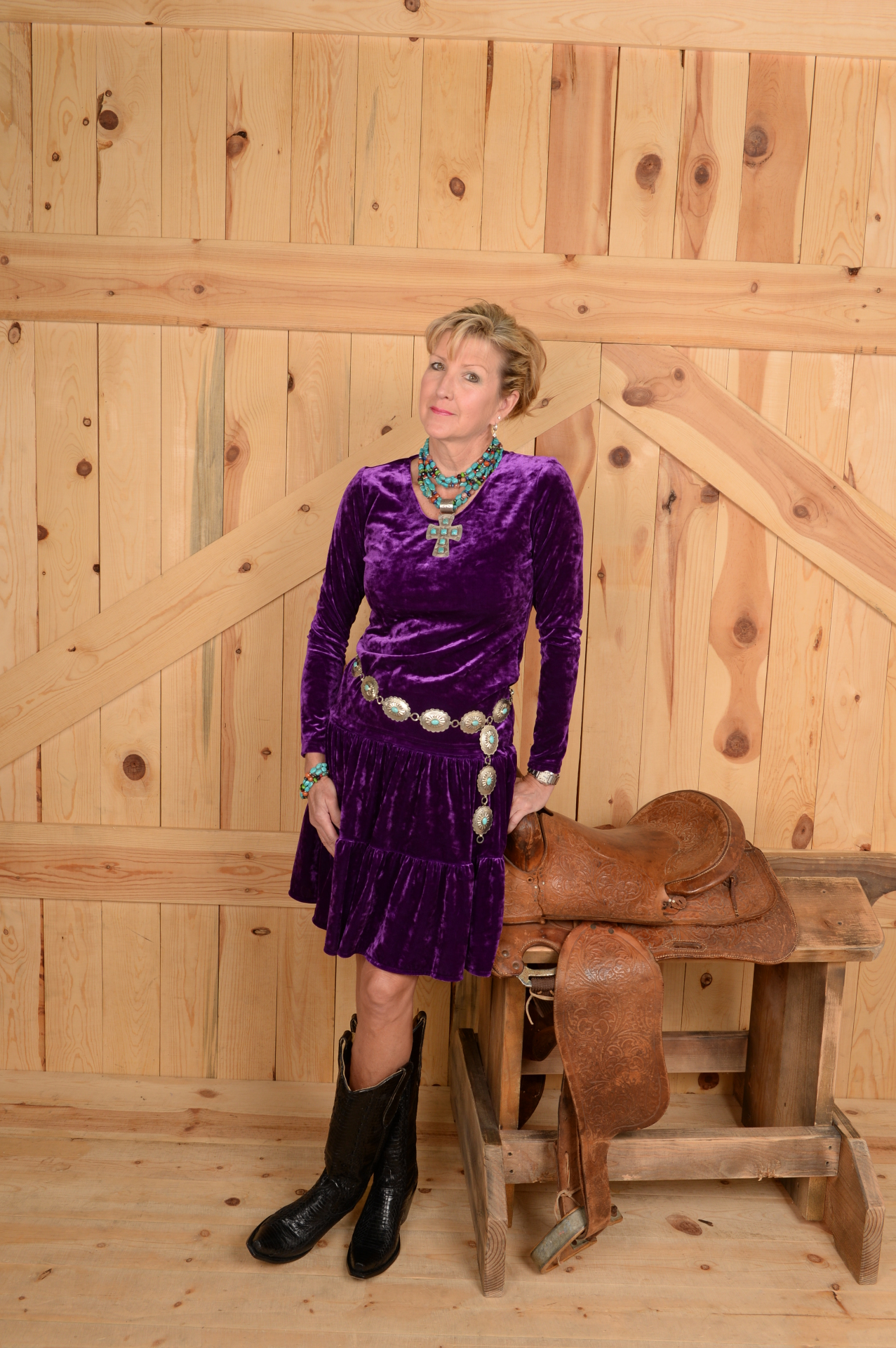 "#518RP - ROYAL PURPLE STRETCH VELVET 18"" TIER SKIRT - $64.95"