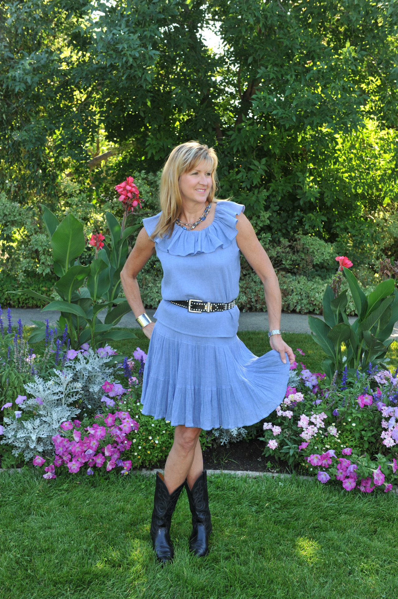"#518CH - CHAMBRAY GAUZE 18"" TIER SKIRT - $54.95"