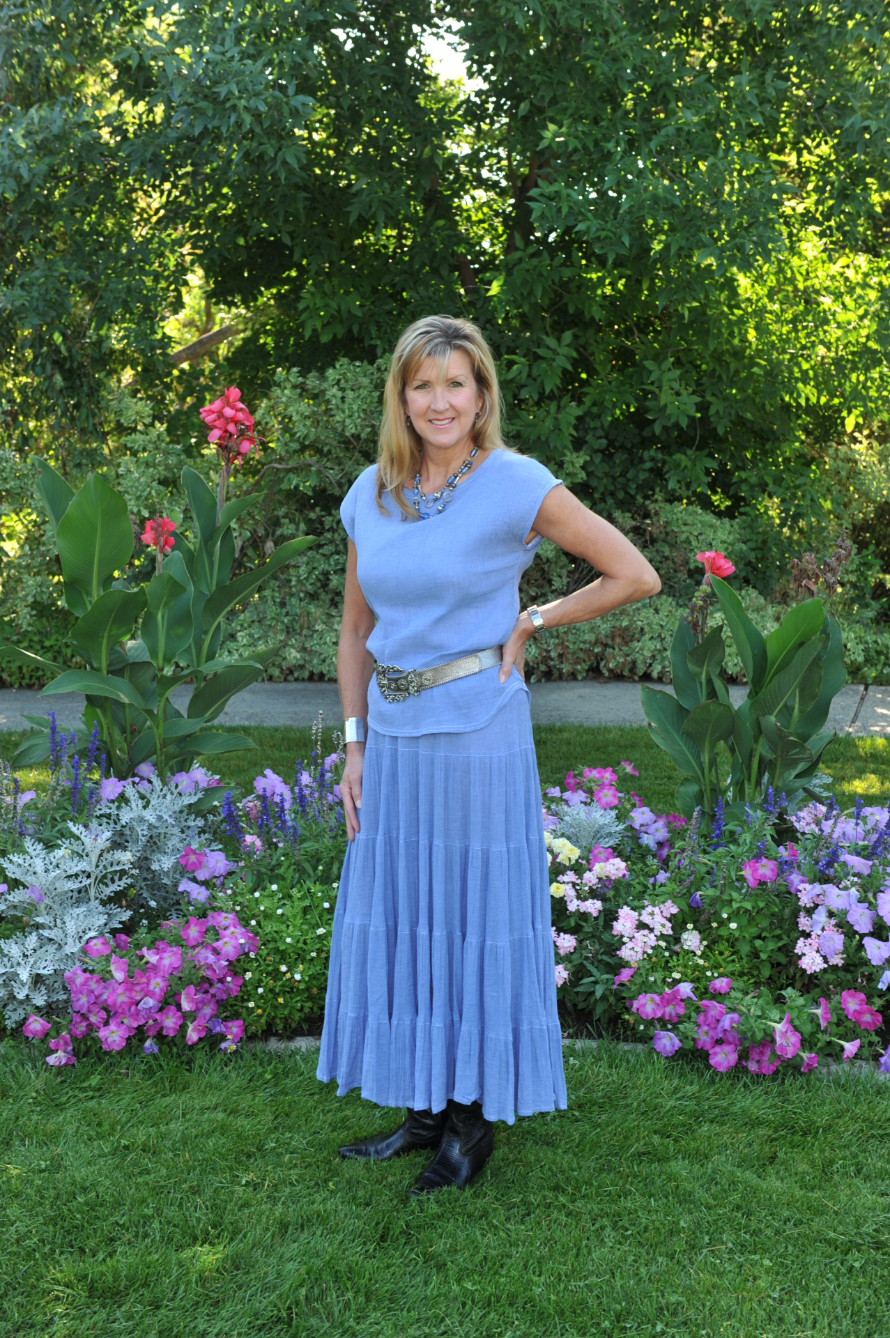 "#536CH - CHAMBRAY GAUZE 36""5-TIER SKIRT - $84.95"