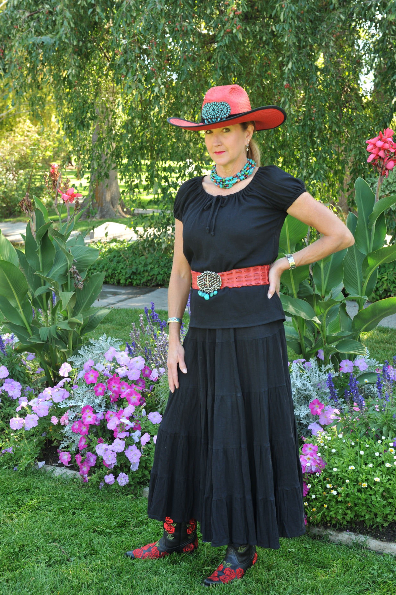 "#536BK - BLACK GAUZE 36"" 5-TIER SKIRT - $84.95"