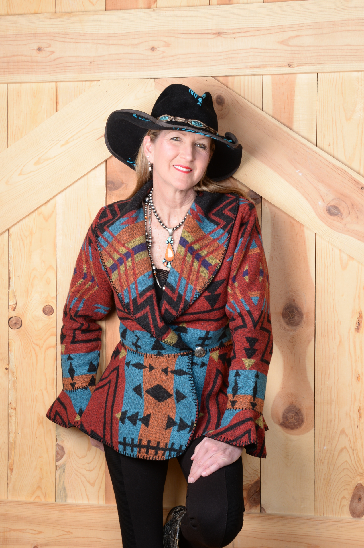 845ZR - RED ZUNI FLOUNCE WRAP JACKET -- $199.95