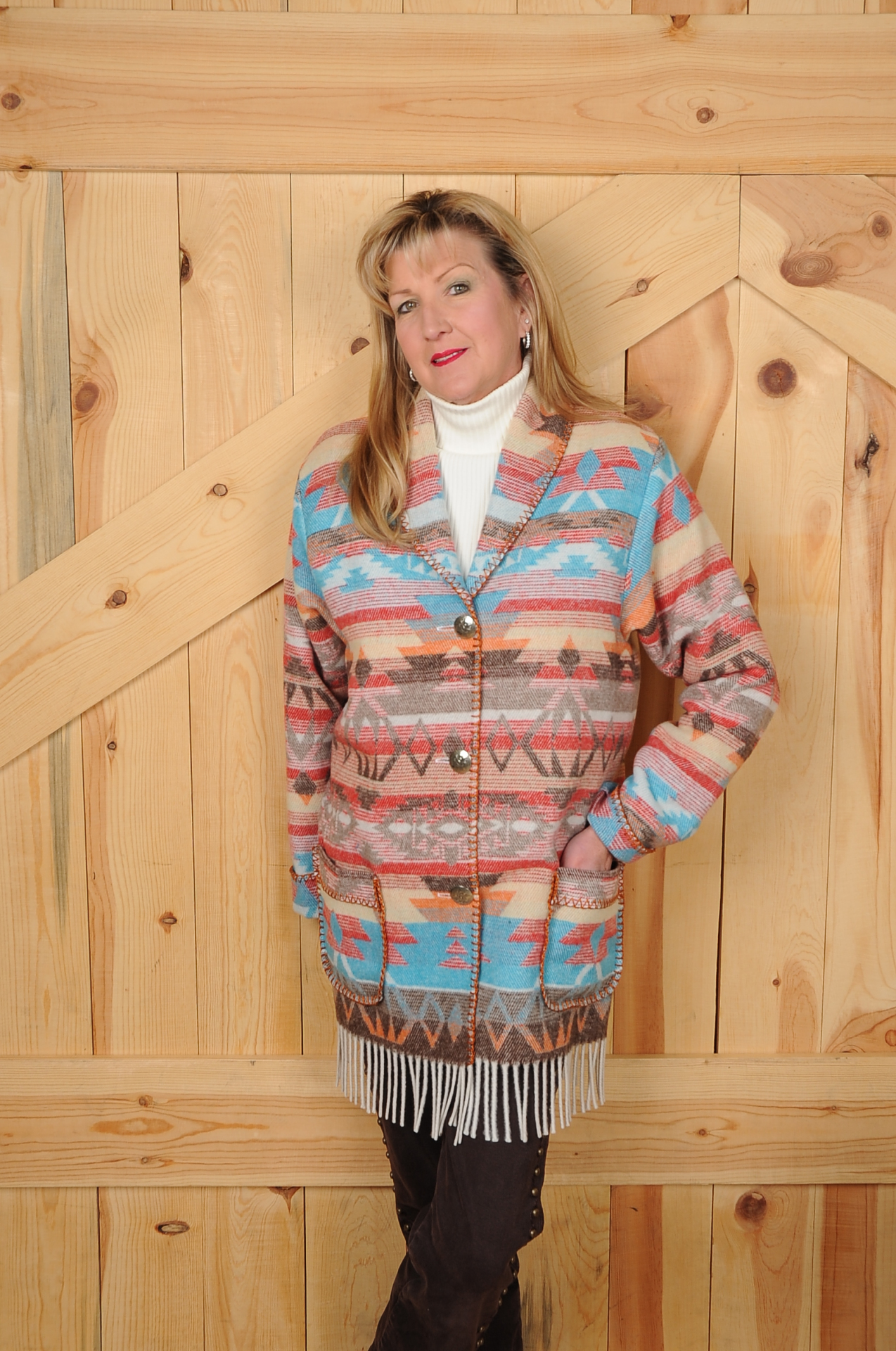 #875SFWF - WHITE SANTA FE FRINGE CAR COAT       $189.95