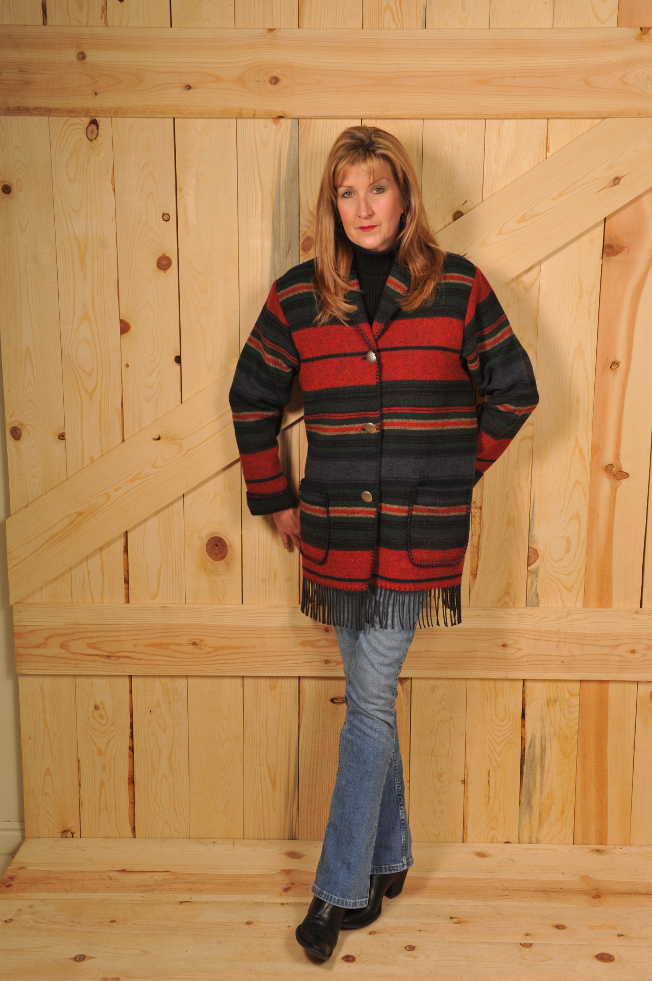 #875SNF NAVY SERAPE FRINGE CAR COAT - $179.95       OUTLET SALE $99 - SMALL ONLY