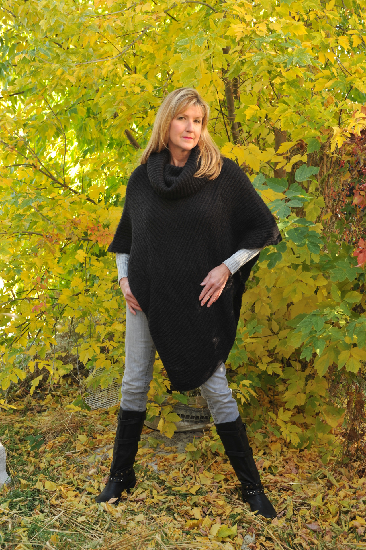 #K215BK - BLACK ITALIAN KNIT COWL PONCHO - $99.95     OUTLET SALE - $35 - ONE SIZE