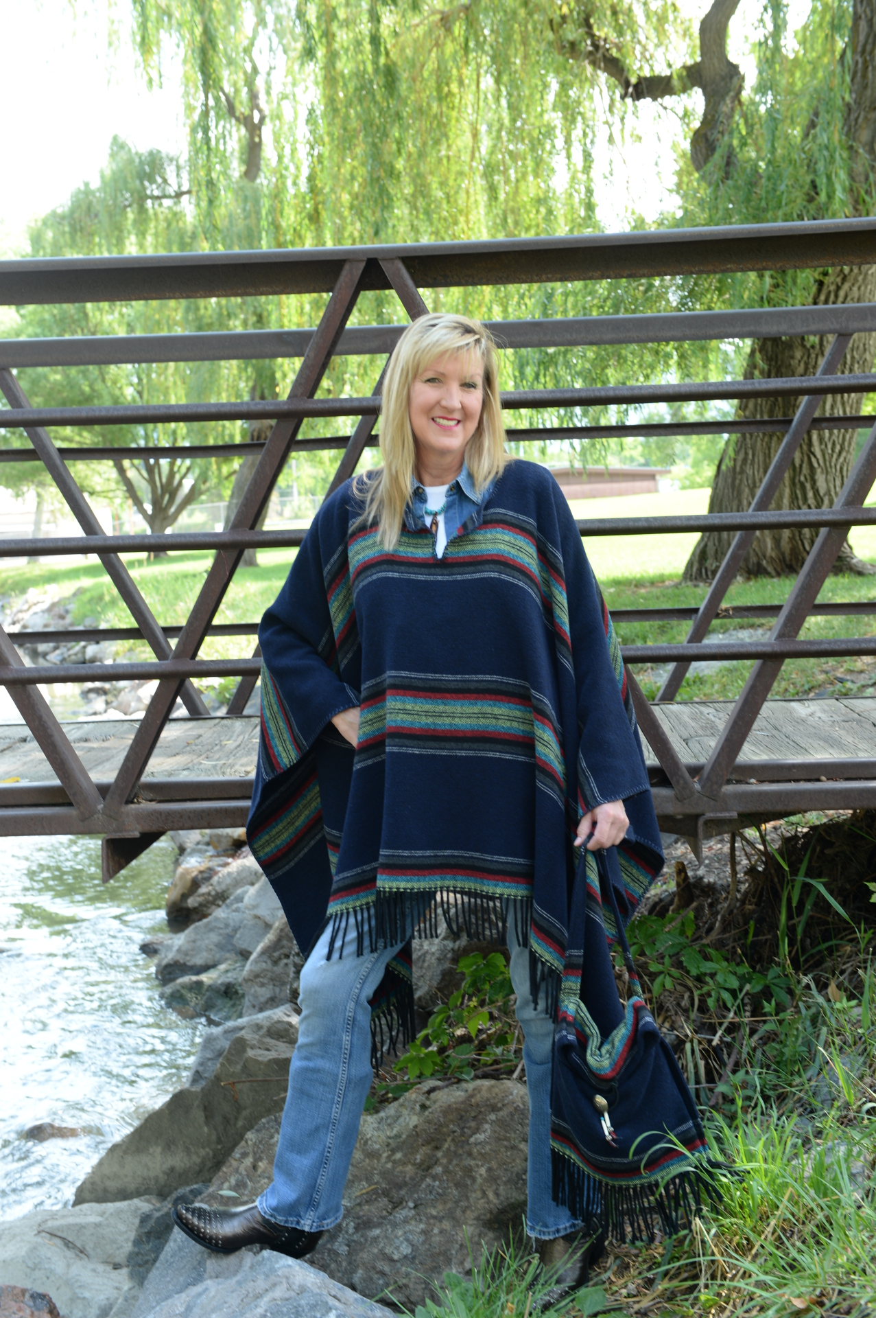 #200PNF - NAVY PADRE FRINGE PONCHO - O/S - SOLD OUT!