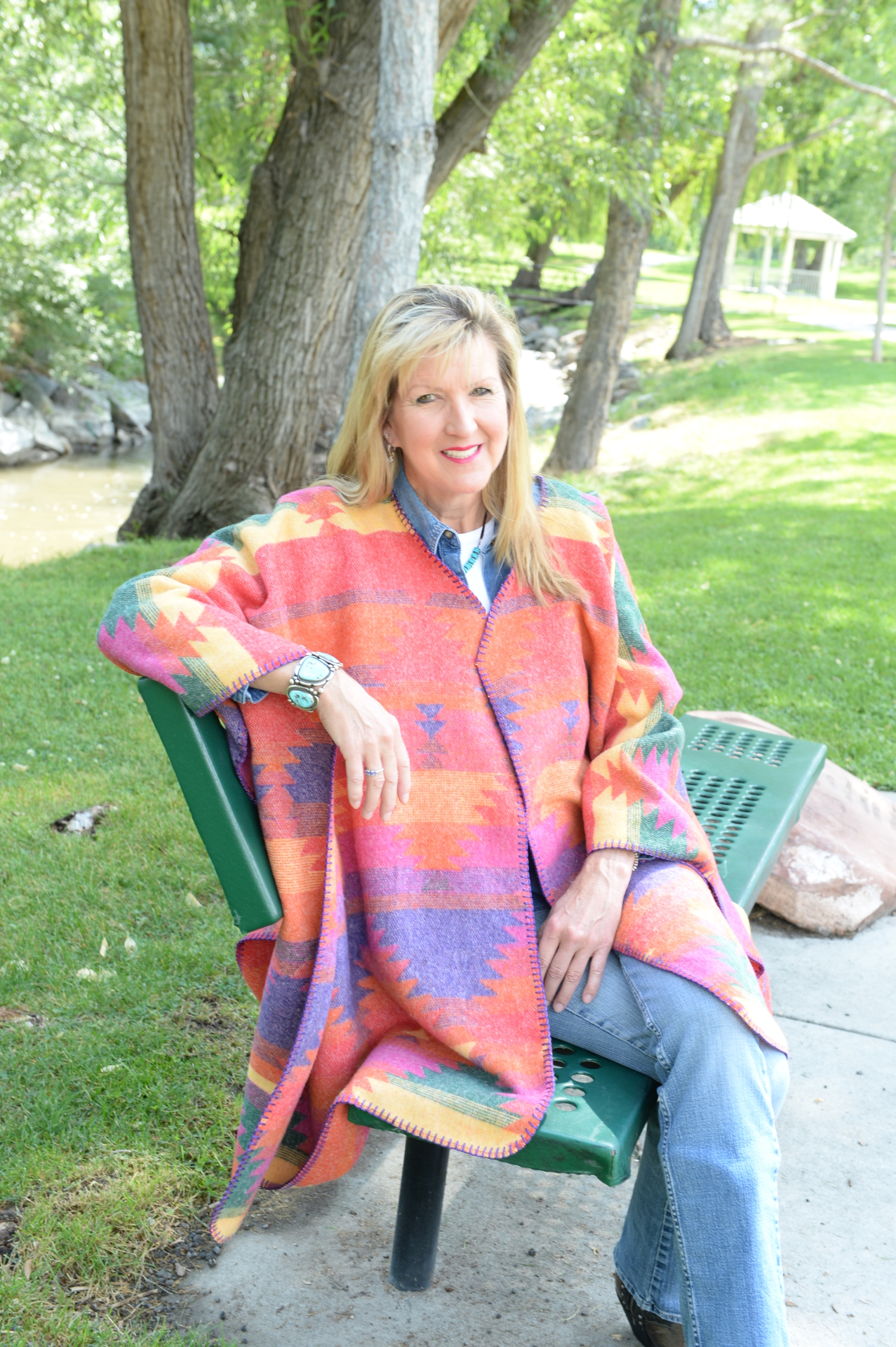 #101FI - FIESTA BLANKETSTITCH CAPE                               ONE SIZE - $119.95