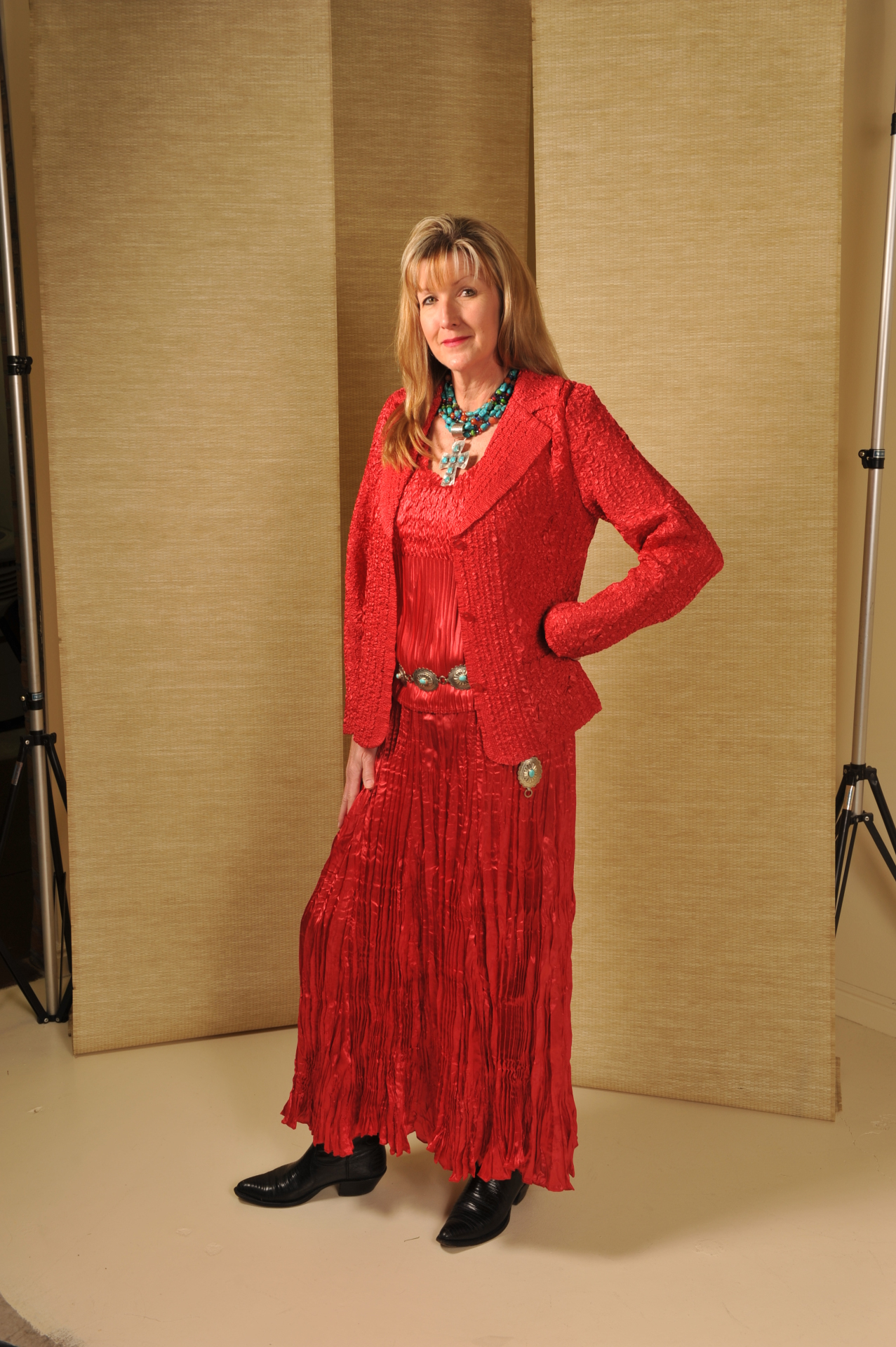 672RD - RED SATIN TWIN SET & SKIRT                                   #672 WAS $109.95 - SALE $29.95