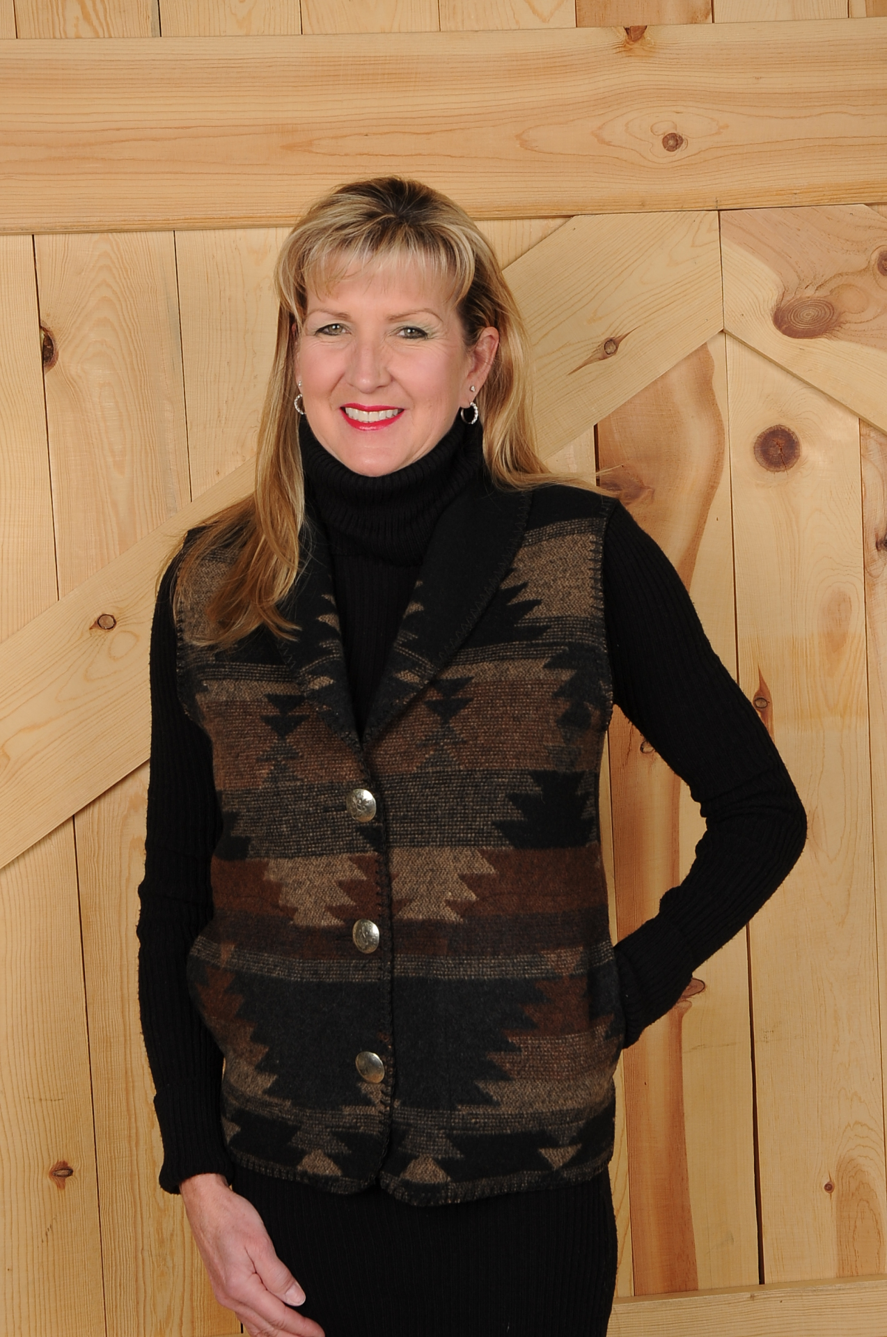130BD - BLACK DIAMOND LONG SHAWL VEST             $99.95