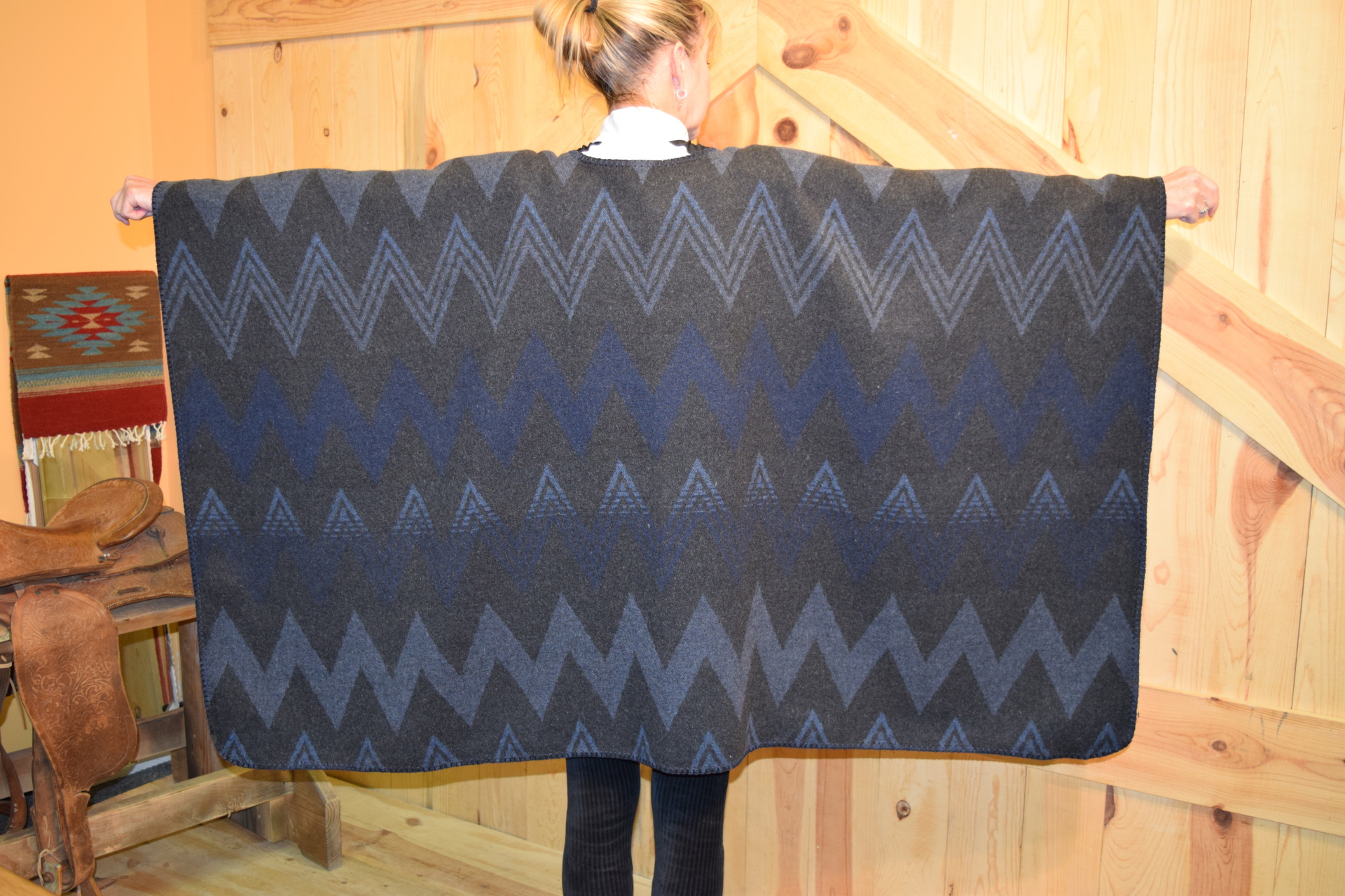 #101WM - MIDNIGHT WIGWAM BLANKETSTITCH CAPE         ONE SIZE - $119.95