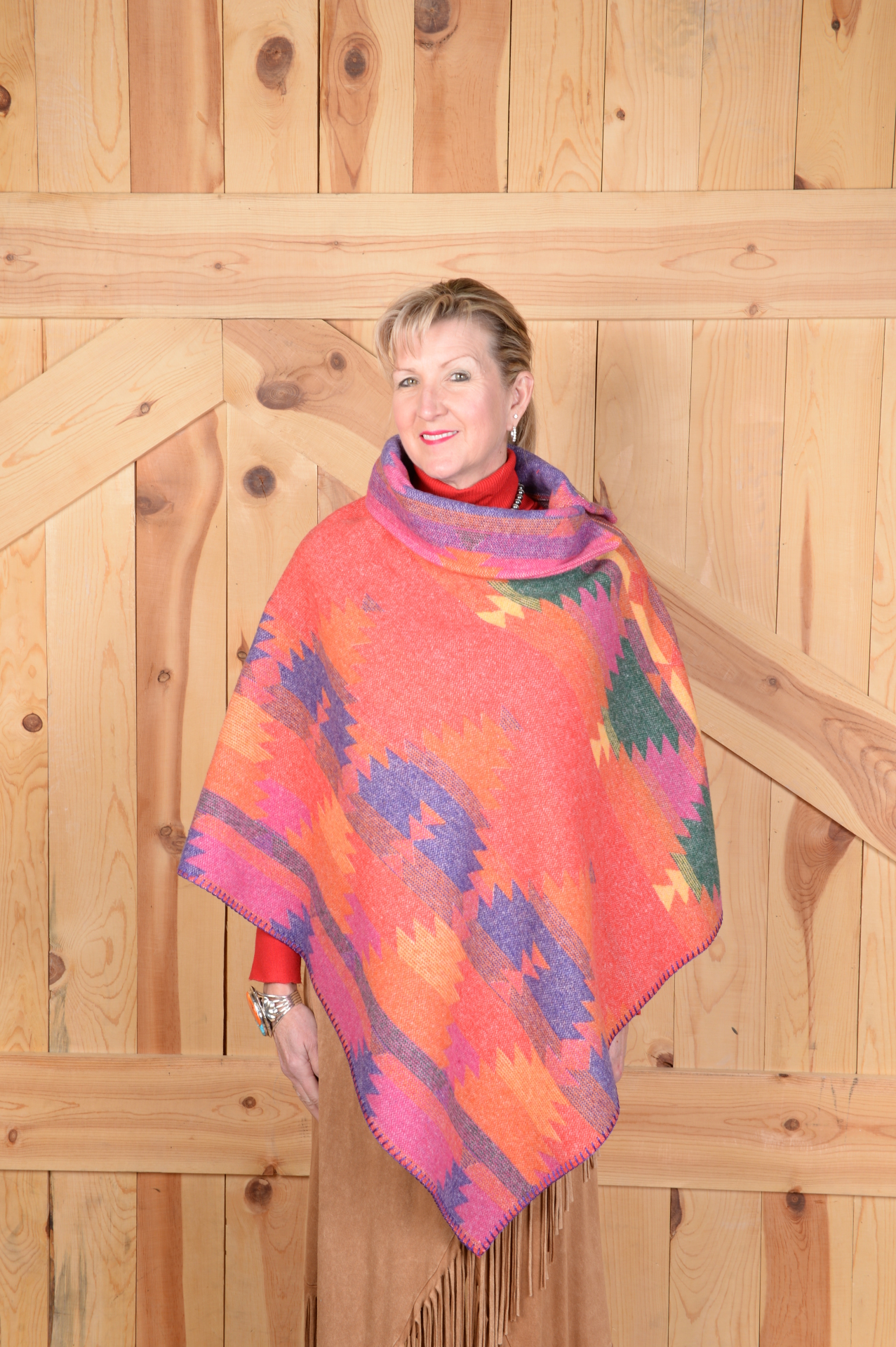 #208FI - FIESTA B.S. BUTTON COLLAR PONCHO                ONE SIZE - $119.95