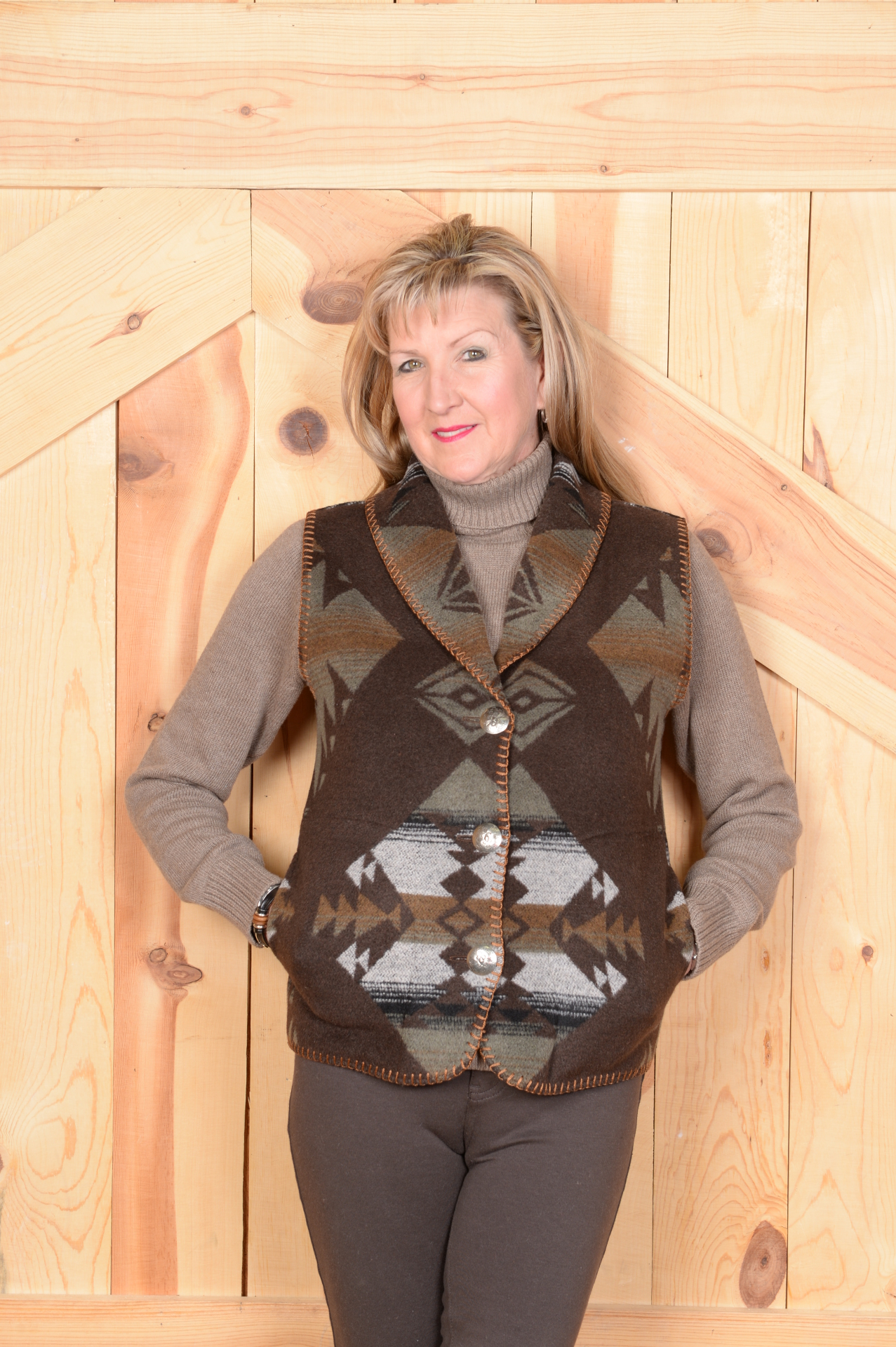 130KS - KEMOSABE SHAWL COLLAR VEST -- $99.95