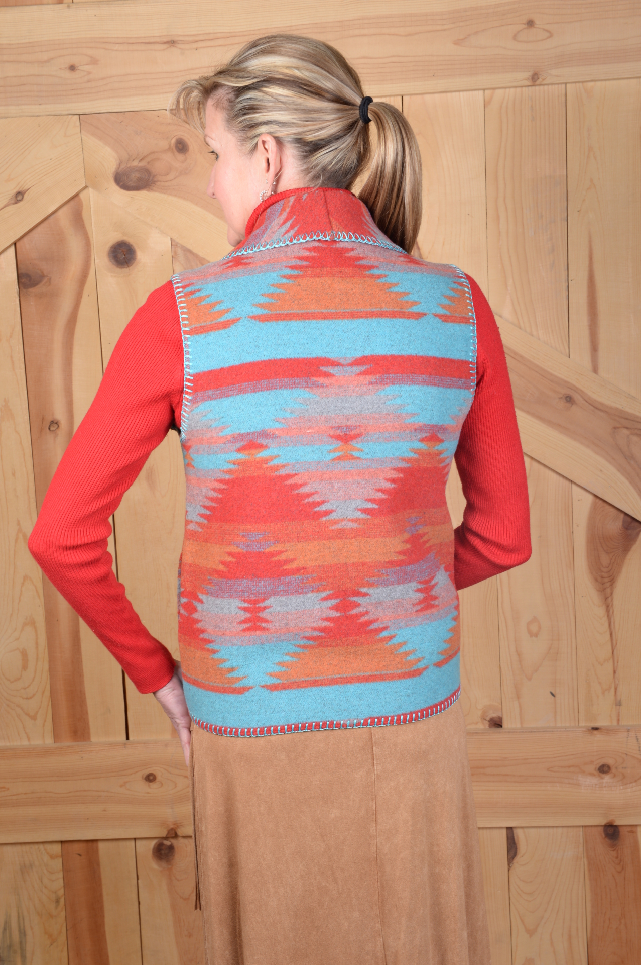 130TSU - TEQUILLA SUNRISE SHAWL VEST - BACK                   $99.95