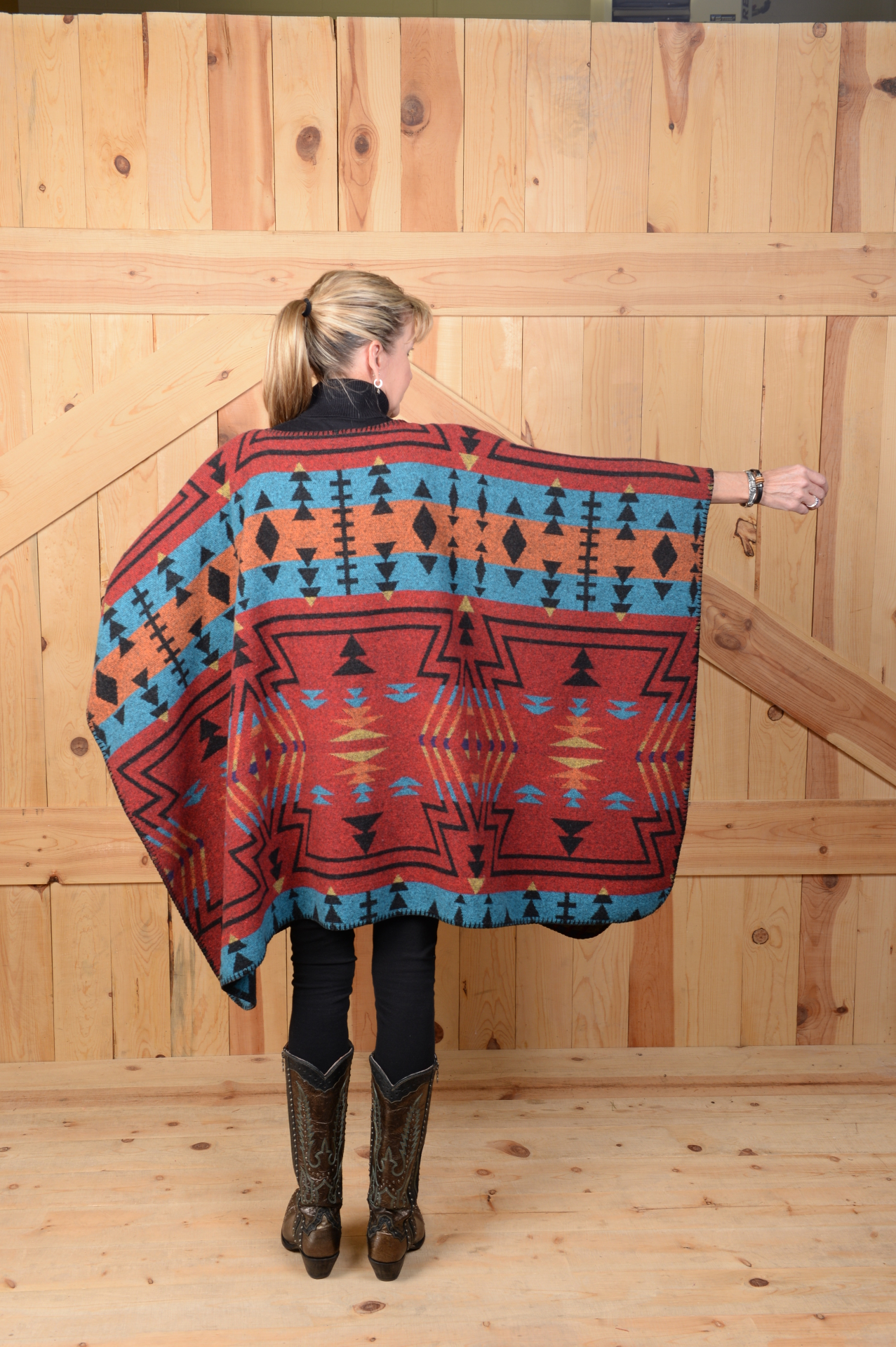 #101ZR - RED ZUNI BLANKETSTITCH CAPE                      ONE SIZE - $119.95