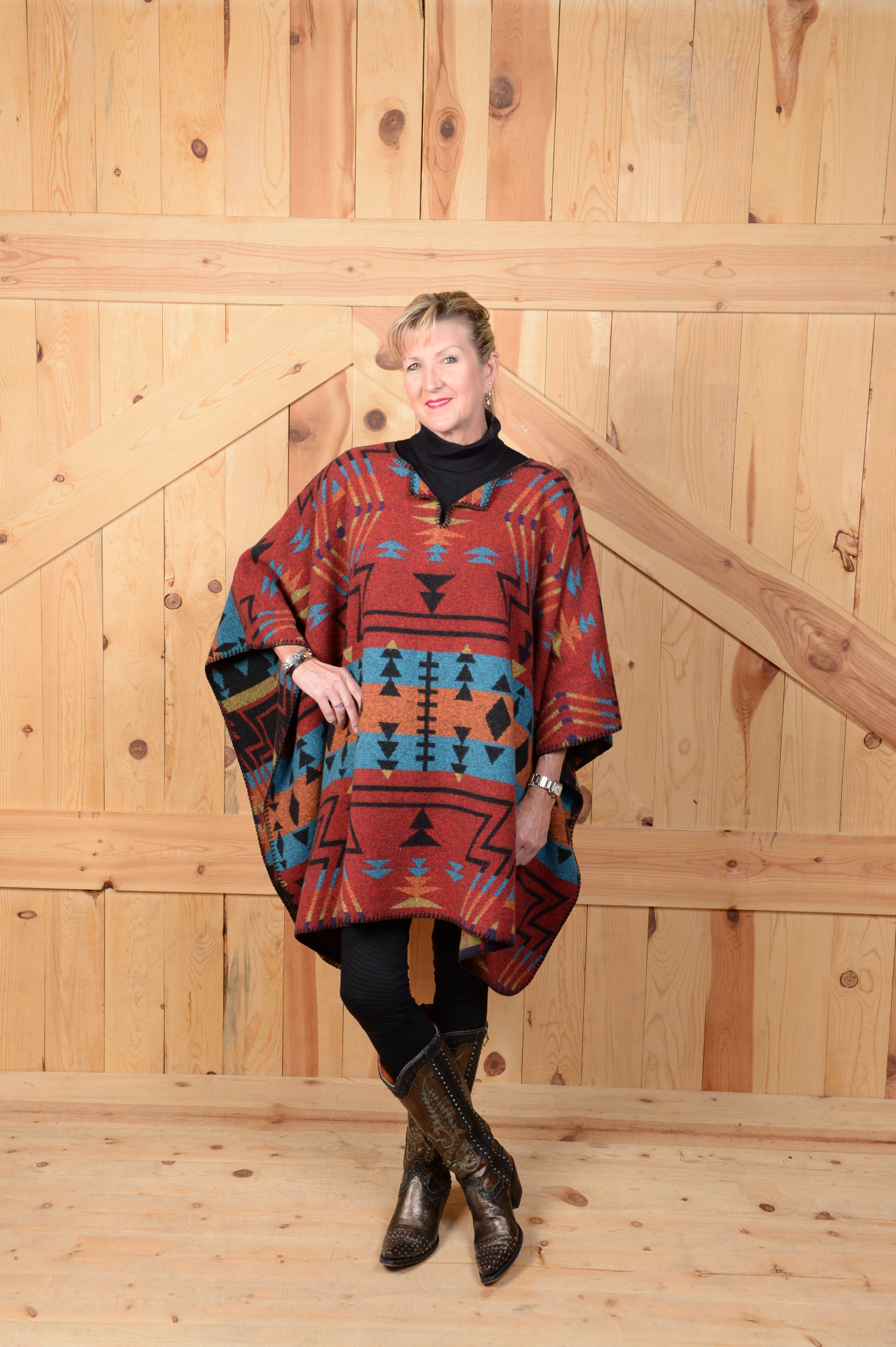 #201ZR - RED ZUNI BLANKETSTITCH PONCHO                 ONE SIZE - $119.95