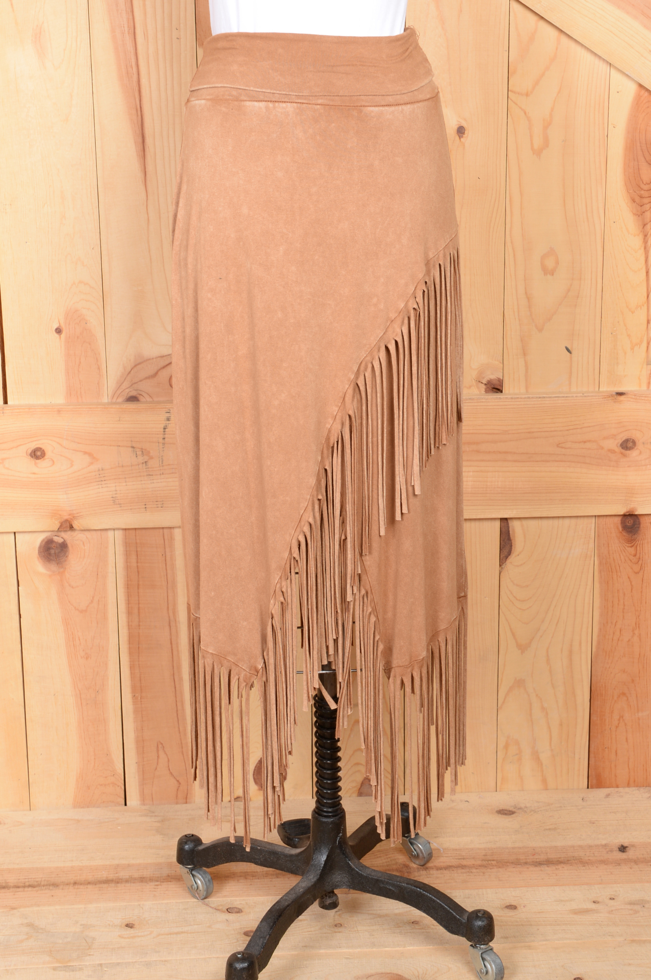 #580CM - CAMEL FRINGED KNIT SKIRT S - XL -- $79.95