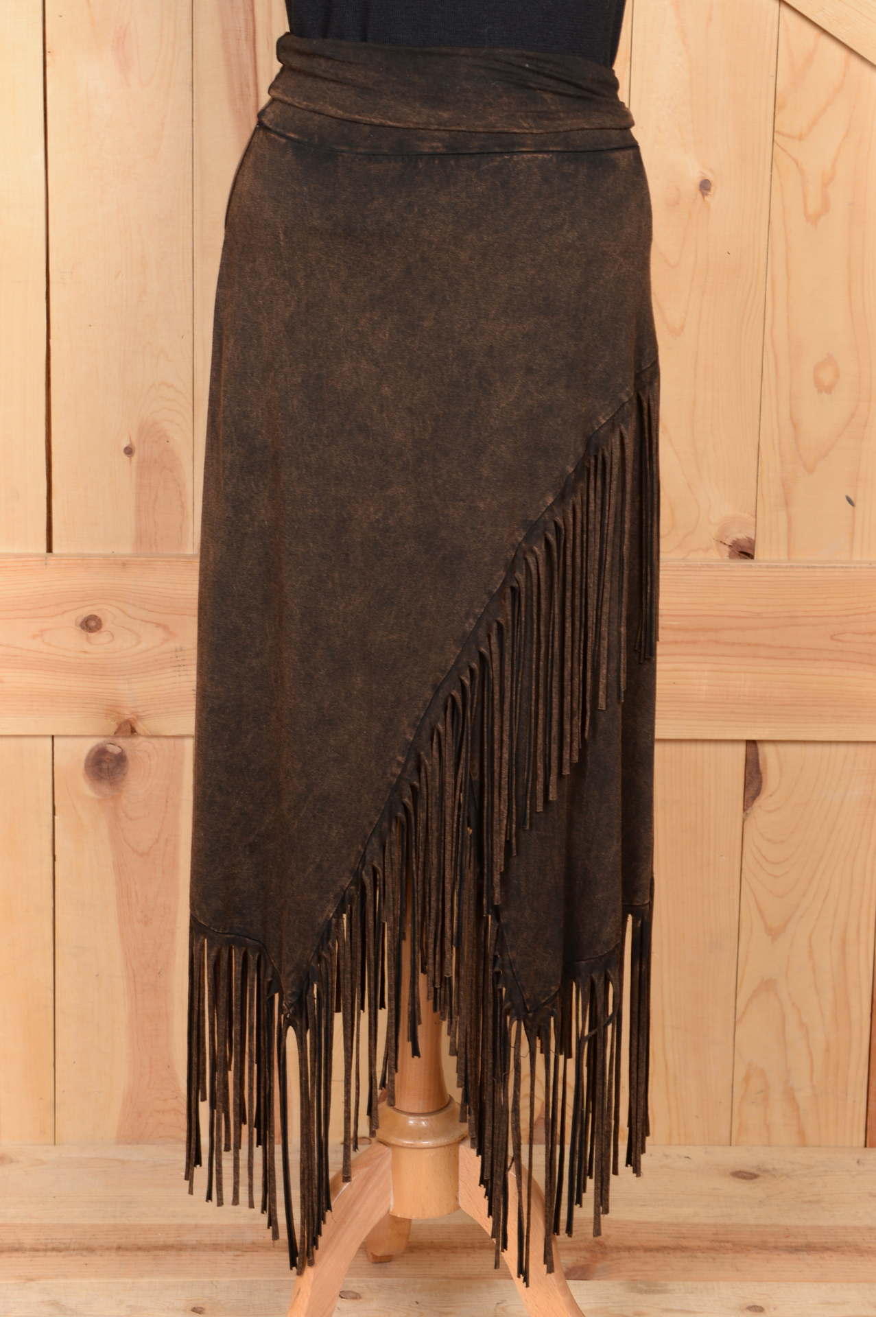 #580BR - BROWN FRINGE KNIT SKIRT - S-XL -- $79.95