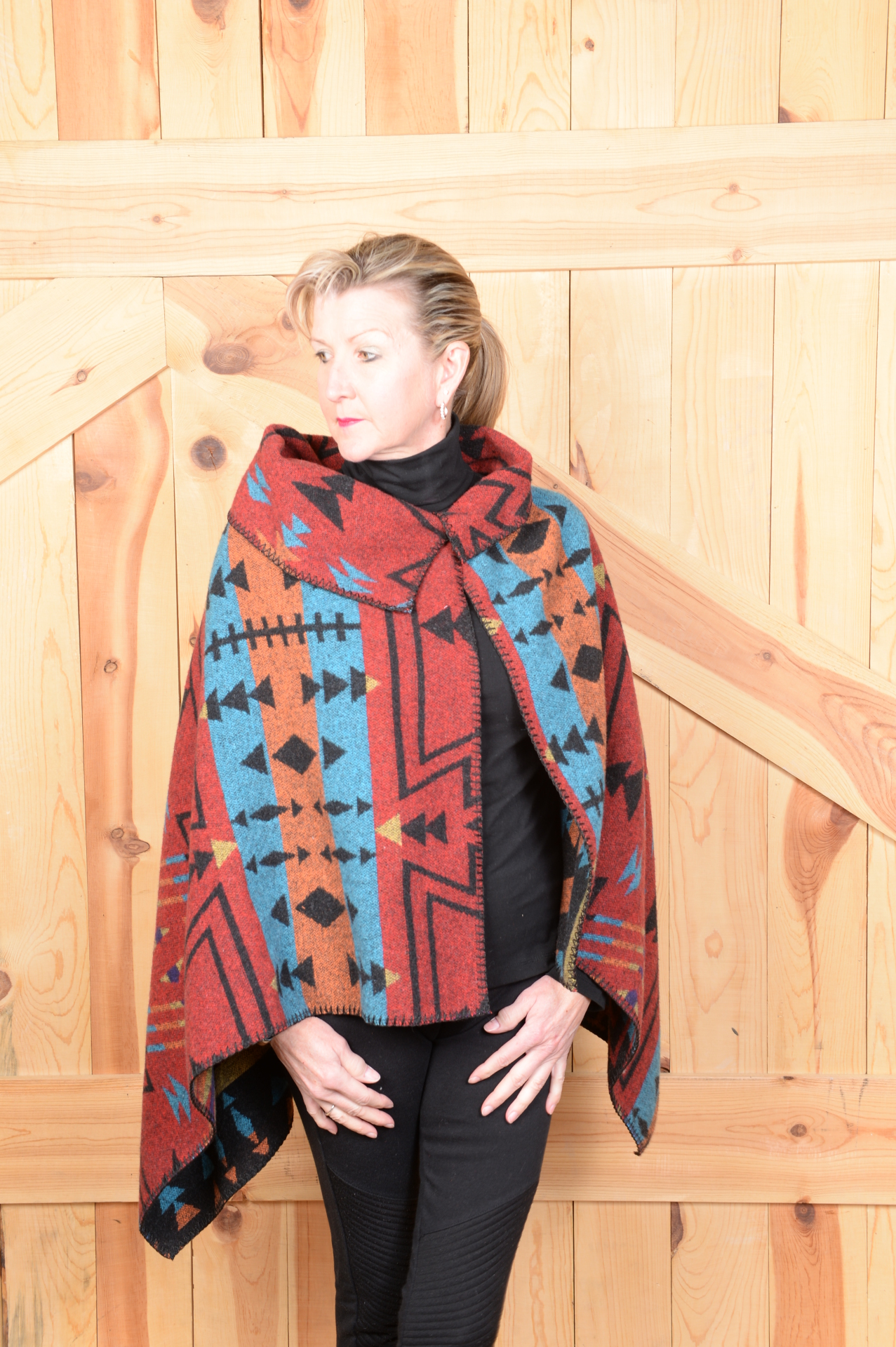 #105ZR - RED ZUNI ASYMETRICAL BUTTON CAPE          ONE SIZE - $119.95