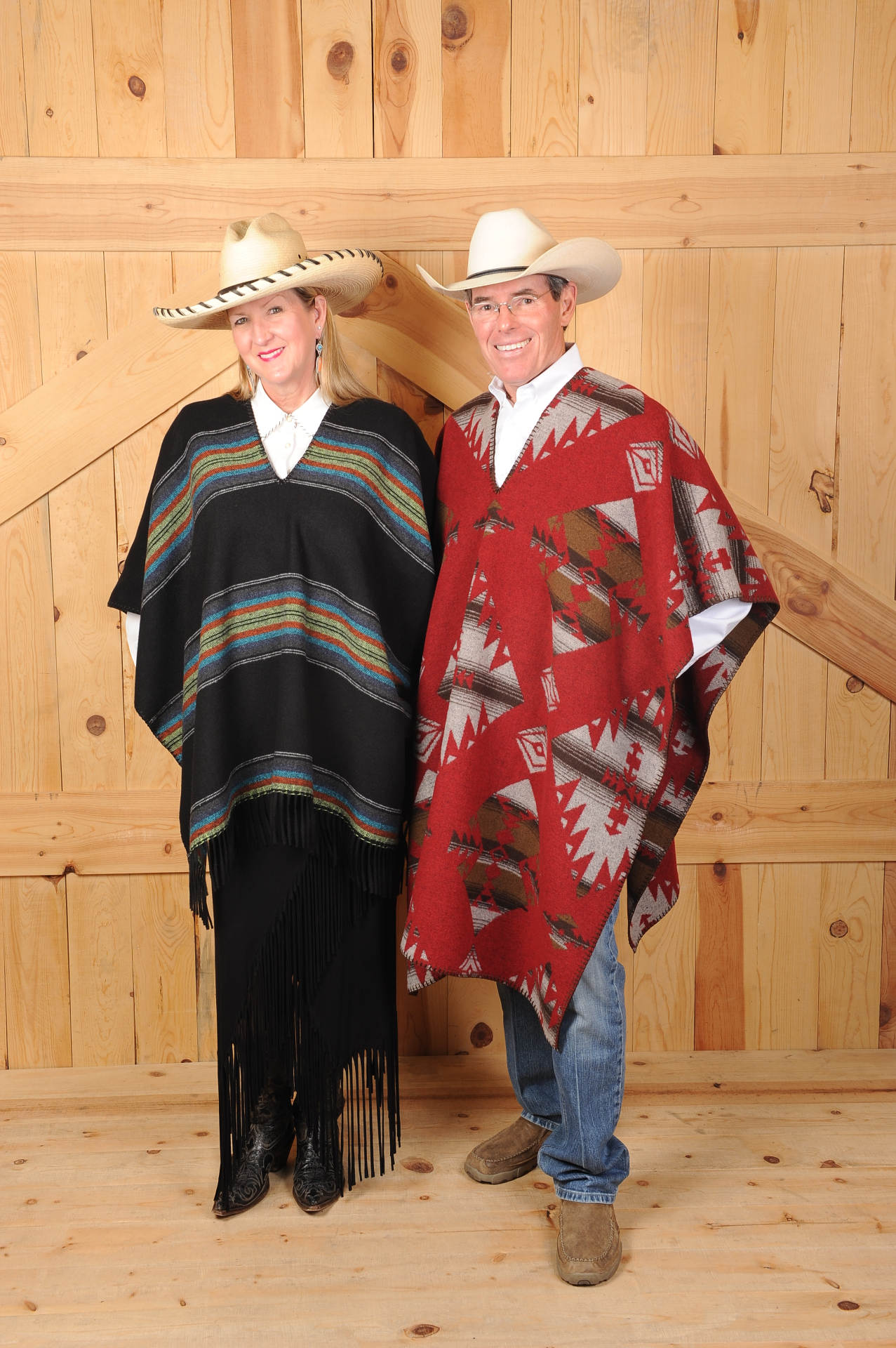 "#230PBF BLACK PADRE UNISEX SLIT NECK B.S. CAPE - $119.95 & #240MJ MOJAVE 40"" SLIT NECK PONCHO - $129.95"