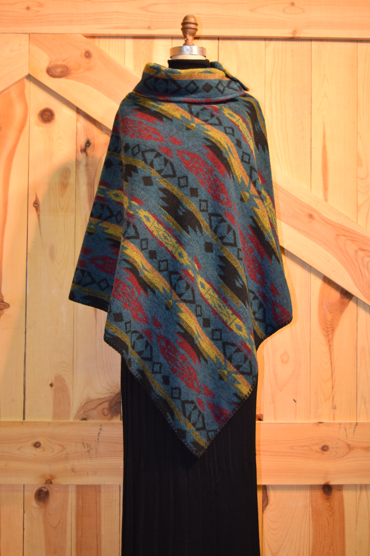 "#208TM - TOTEM B.S. BUTTON COLLAR 30"" PONCHO - $119.95"