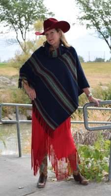#208PNF - NAVY PADRE FRINGE B.S. BUTTON COLLAR PONCHO - $119.95