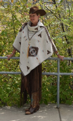 "#208PW - WHITE POCAHONTAS B.S. BUTTON COLLAR 30"" PONCHO - $119.95"
