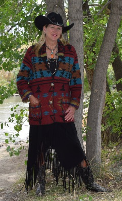 #875ZR - RED ZUNI CAR COAT - $189.95                               580 - BLACK FRINGE - $79.95
