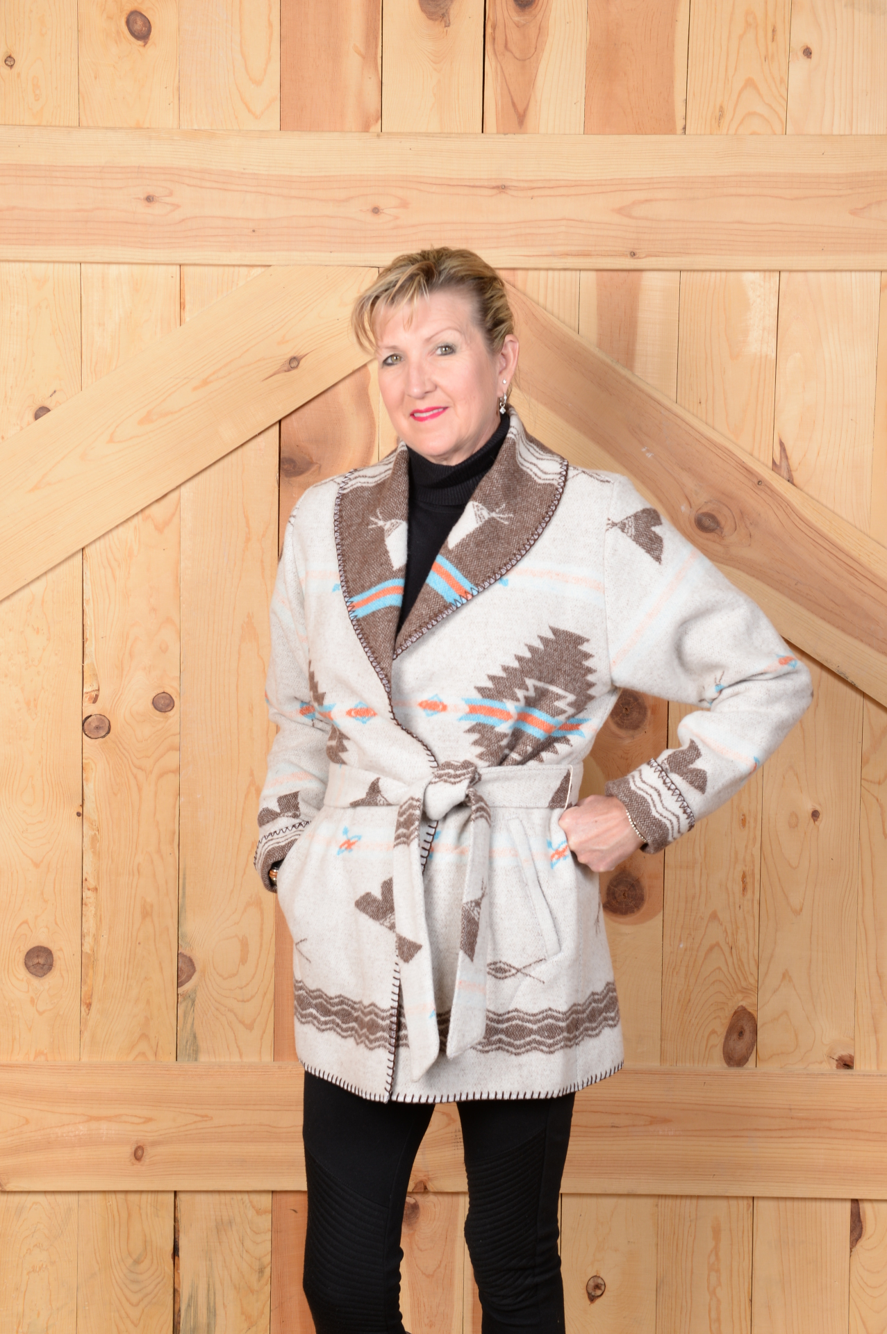 865PW - WHITE POCAHONTAS WRAP COAT - $209.95
