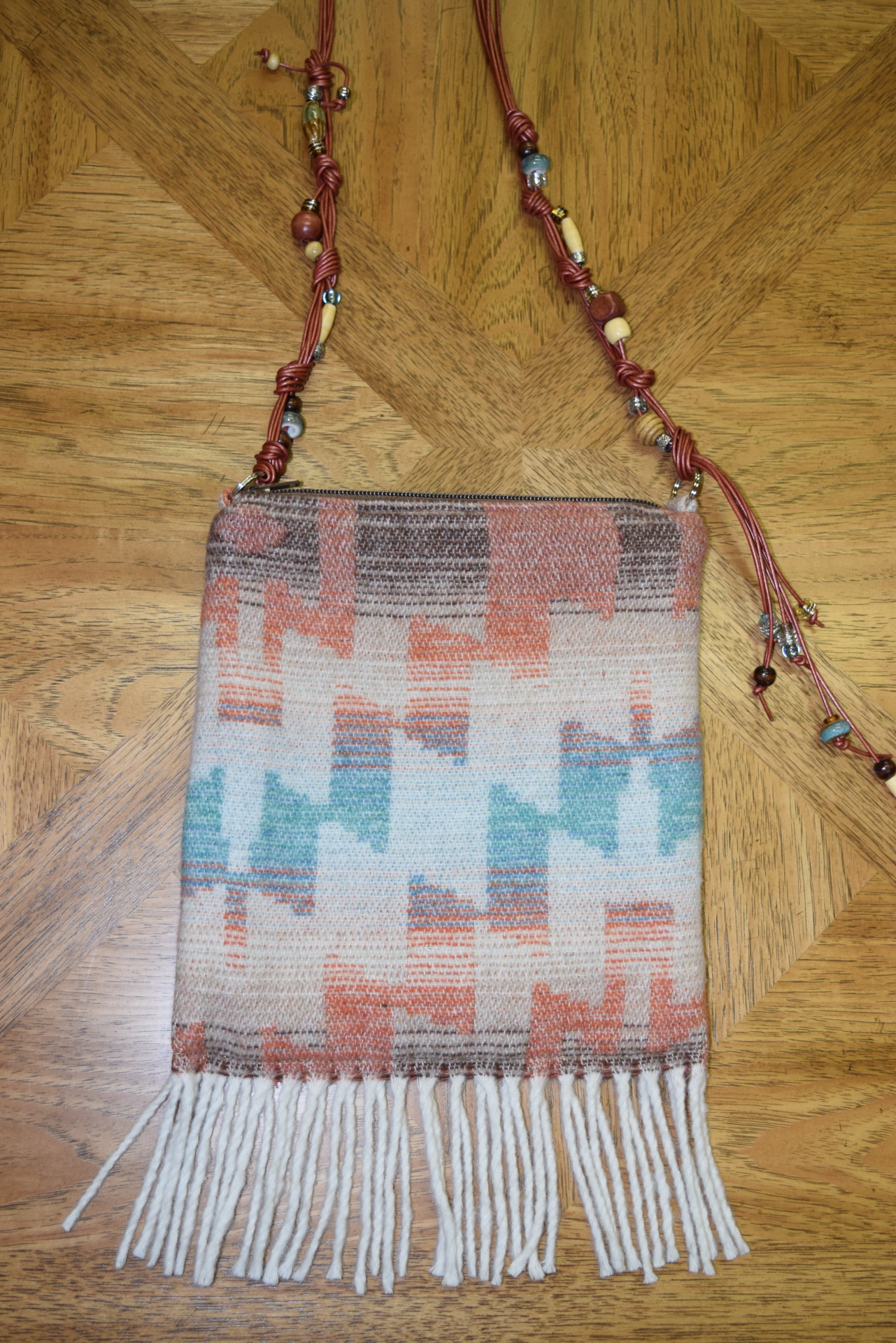 #B05HSF - HARVEST SKY FRINGE RUST BEADED BAG - $129.95