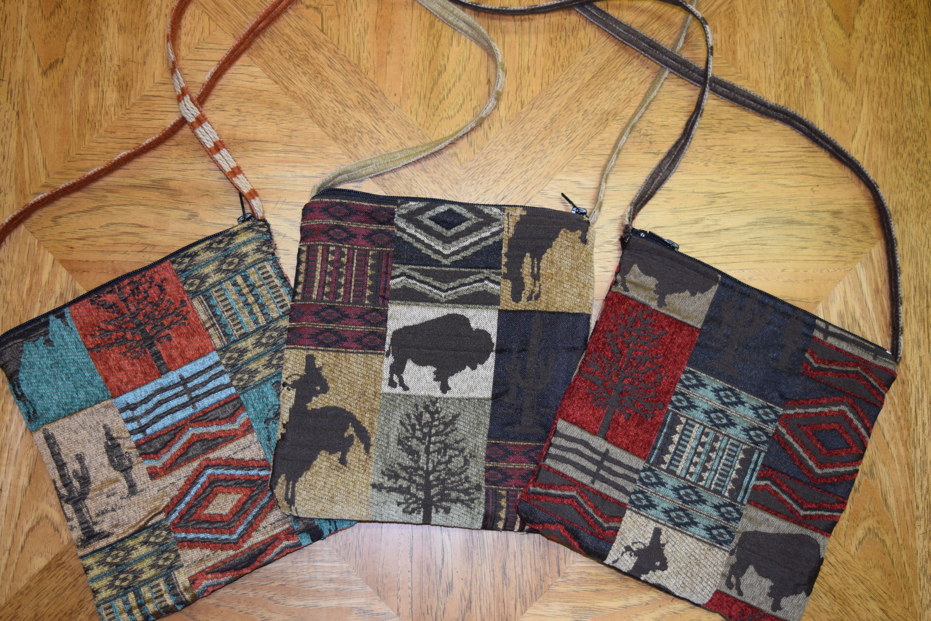#B07 WILD WEST ZIP BAGS - RUST/AQUA - SAGE - RED/BROWN - $89.95