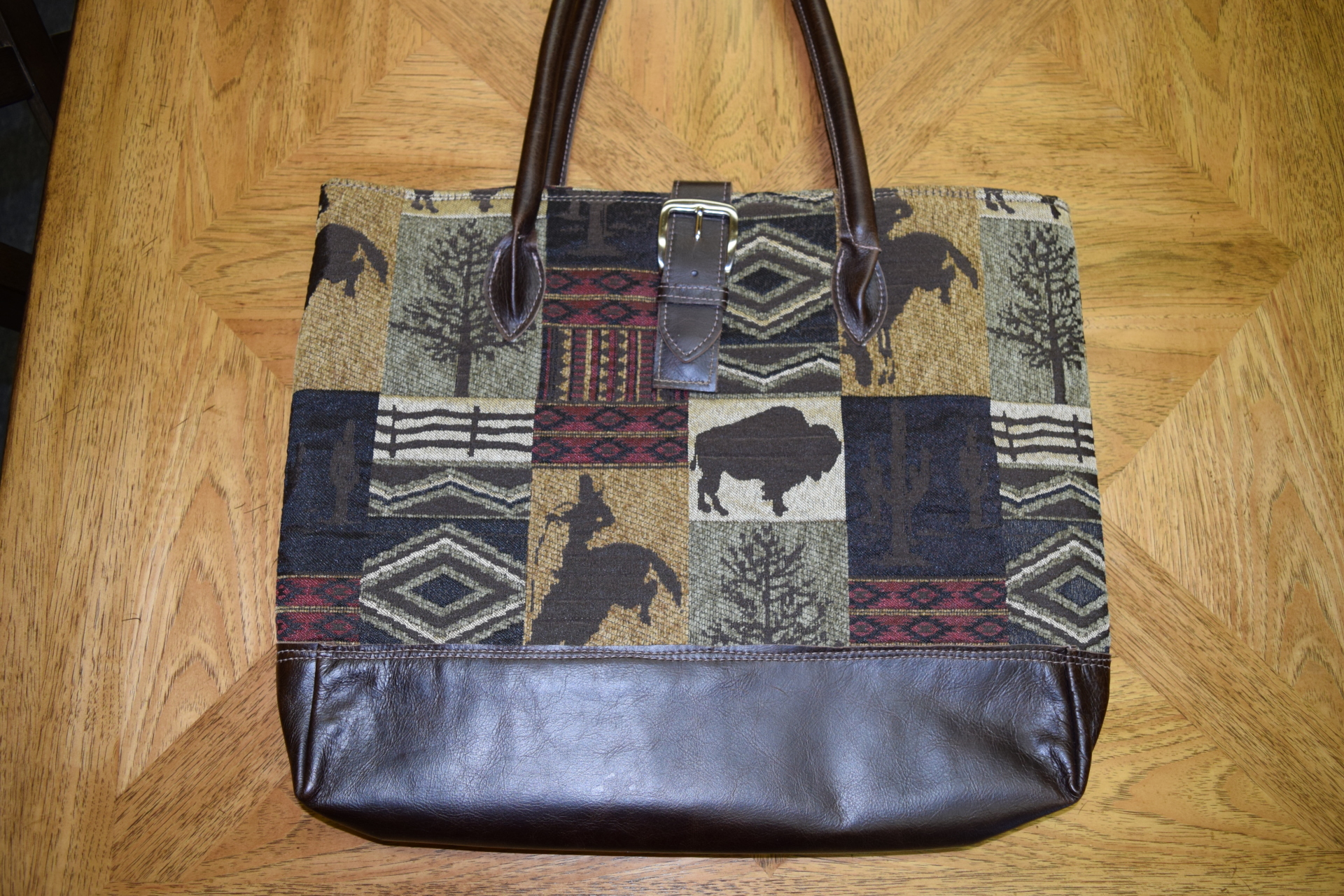 #B20WWS - SAGE WILD WEST BROWN LEATHER BUCKLE BAG - $189.95