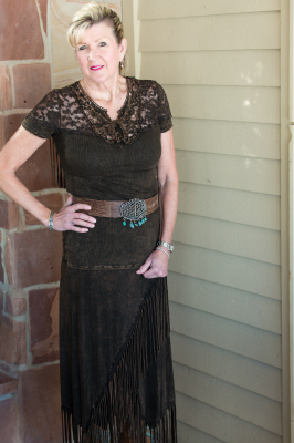 #380BROWN LACE/KNIT FRINGE TOP $59.95 & #580 FRINGE SKIRT $79.95 S-M-L-XL