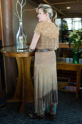 #380 CAMEL LACE/KNIT FRINGE TOP $59.95 & #580 FRINGE SKIRT $79.95  S -XL