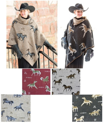 HORSE BRANDS FABRIC - #208 BUTTON COLLAR PONCHO - $119.95 & #228 KERCHIEF PONCHO - $99.95