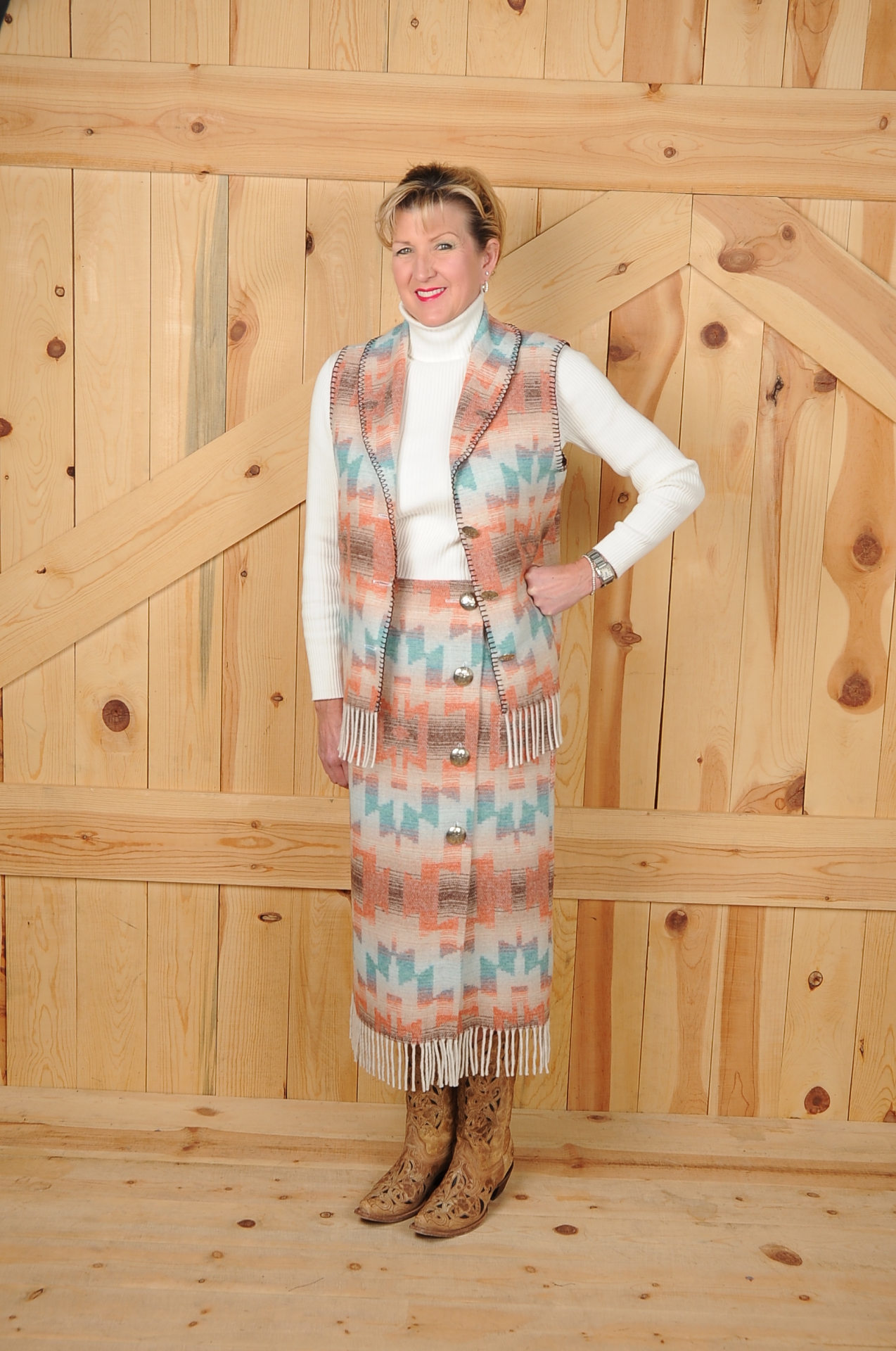 "#505HSF - HARVEST SKY FRINGE 30"" SIDE BUTTON SKIRT - $129.95"
